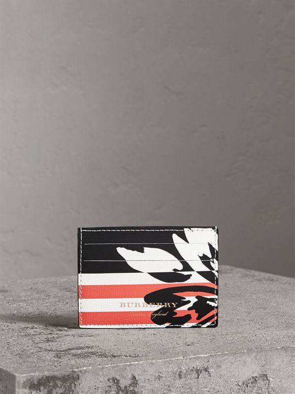 Floral Stripe Print Leather Card Case in Patchwork | Burberry - cell image 3