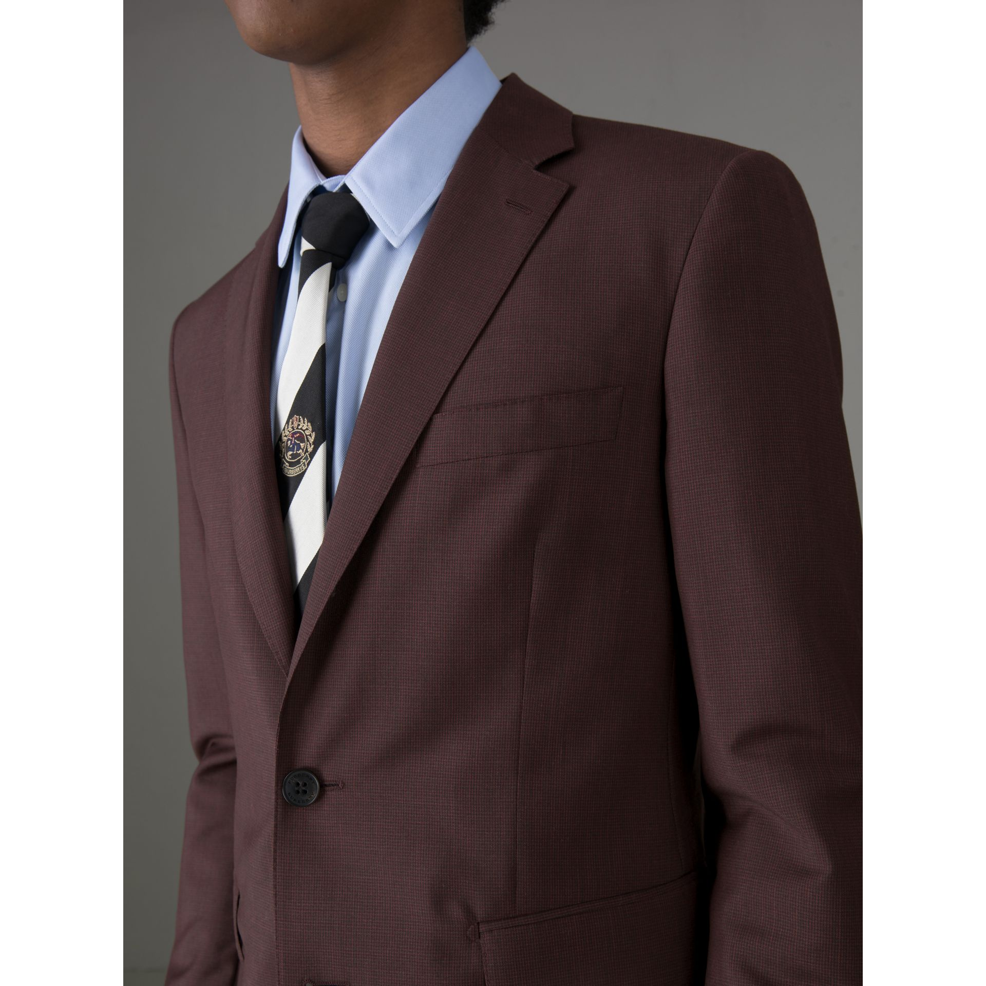 Soho Fit Puppytooth Wool Mohair Suit in Burgundy - Men | Burberry - gallery image 1