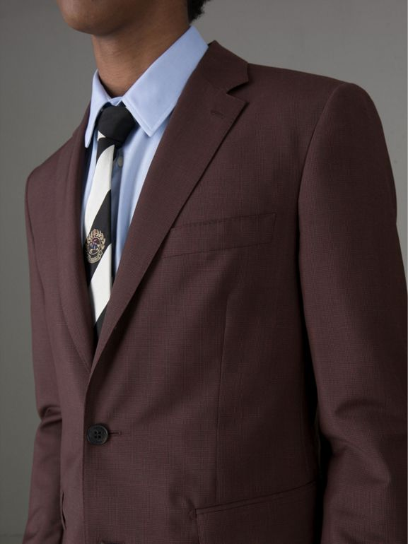 Soho Fit Puppytooth Wool Mohair Suit in Burgundy - Men | Burberry - cell image 1
