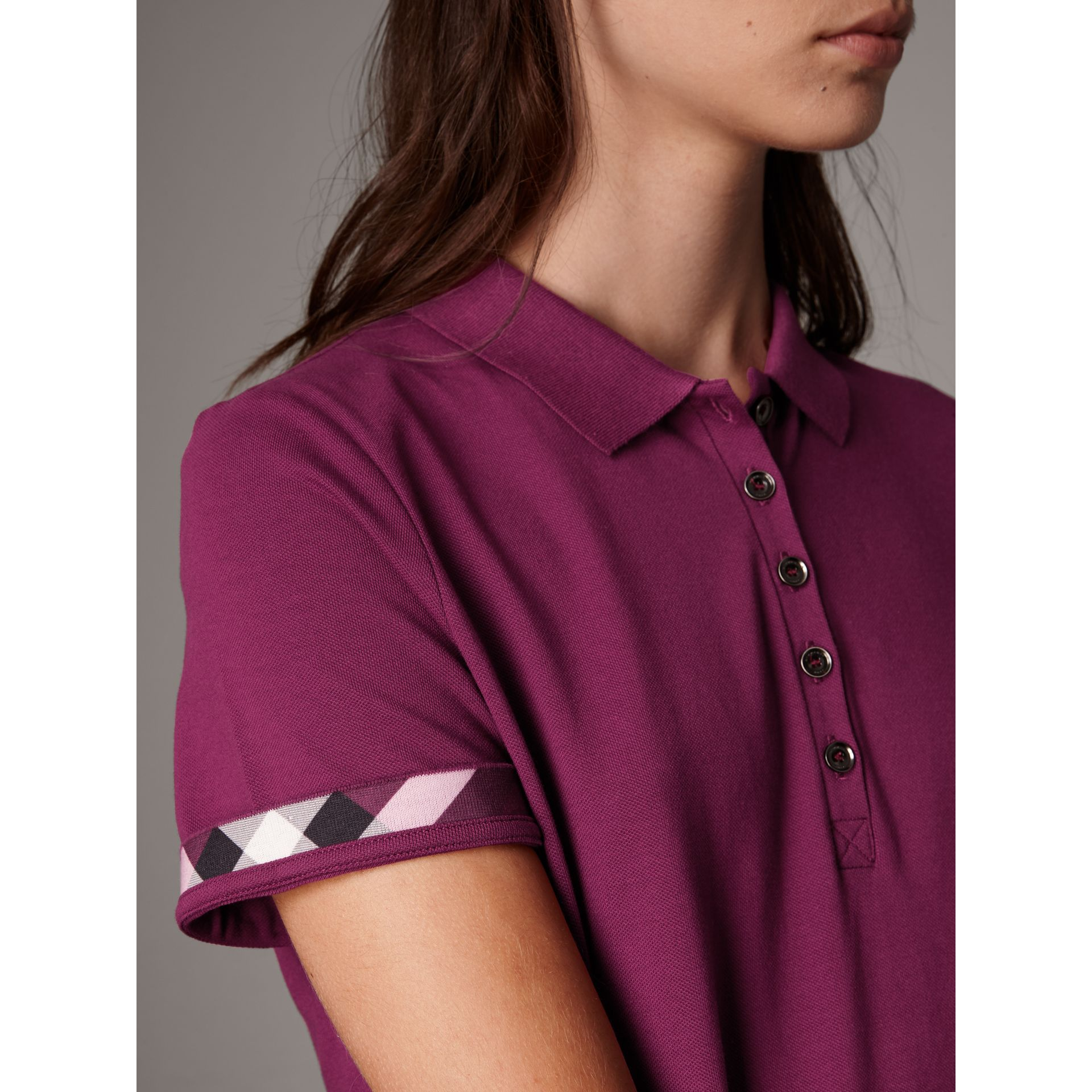 Check Trim Stretch Cotton Piqué Polo Shirt in Magenta Pink - Women | Burberry - gallery image 2