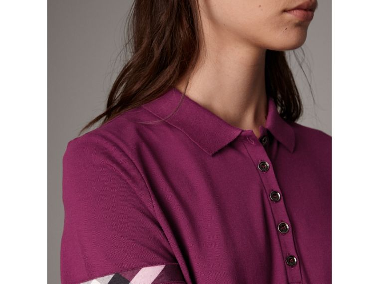 Check Trim Stretch Cotton Piqué Polo Shirt in Magenta Pink - Women | Burberry United Kingdom - cell image 1