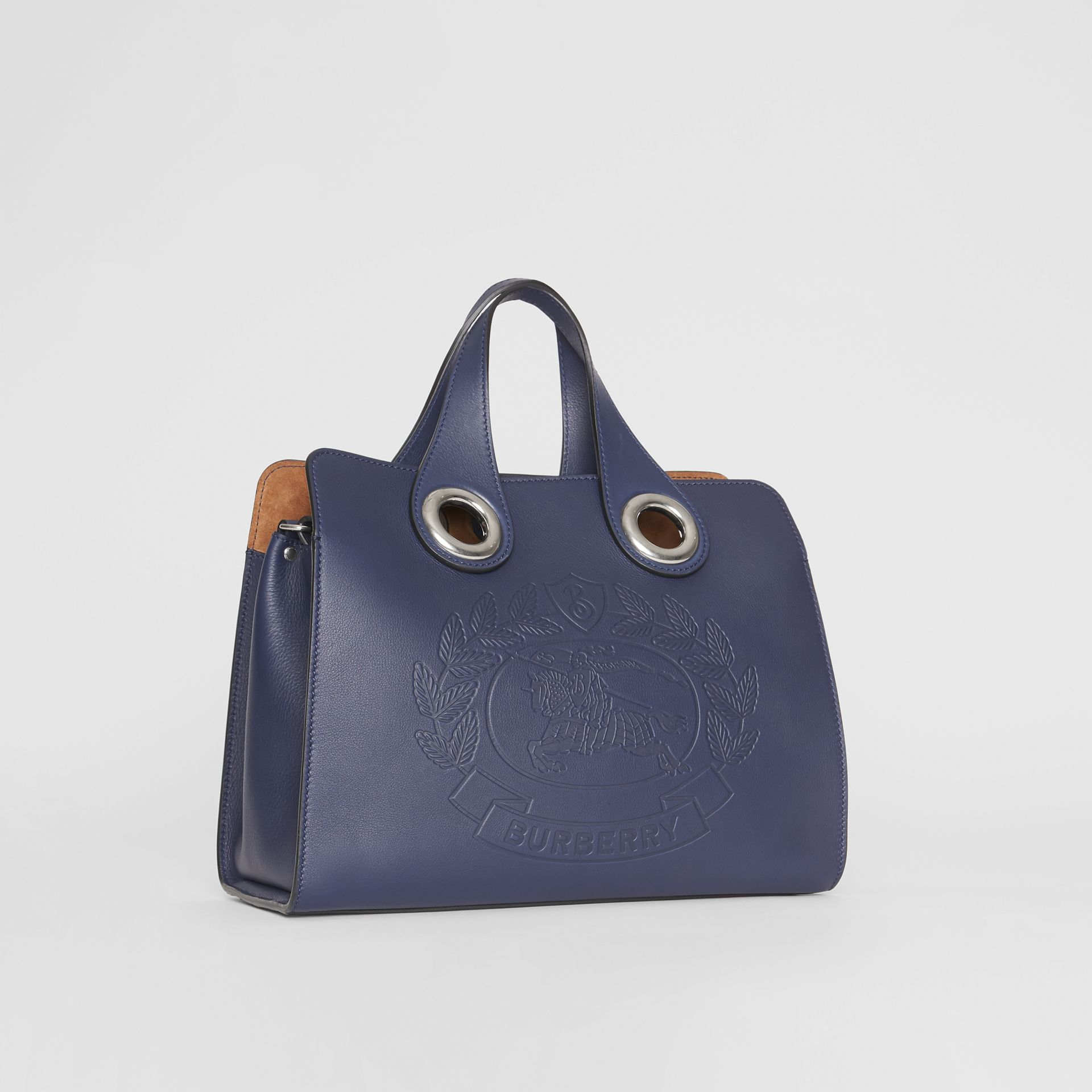 The Leather Crest Grommet Detail Tote in Regency Blue - Women | Burberry - gallery image 4