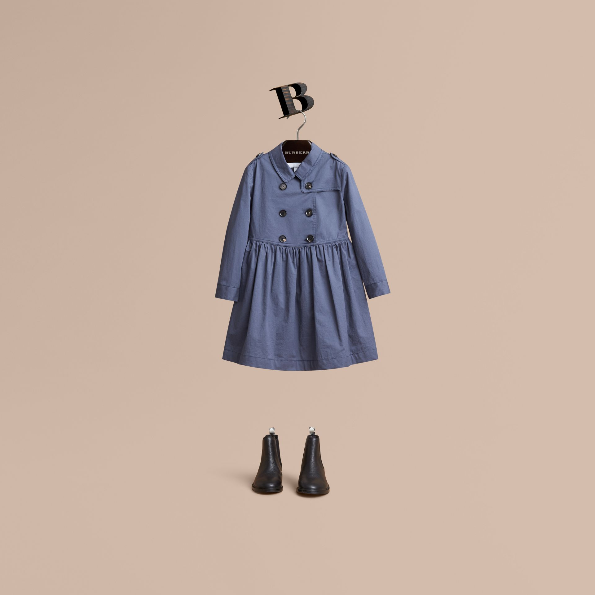 Check Detail Stretch Cotton Trench Dress in Storm Blue - Girl | Burberry - gallery image 1