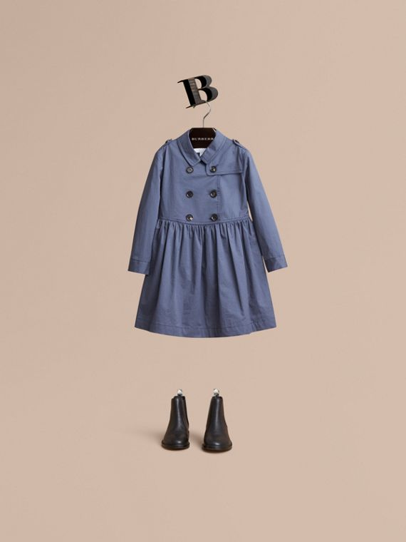 Check Detail Stretch Cotton Trench Dress in Storm Blue