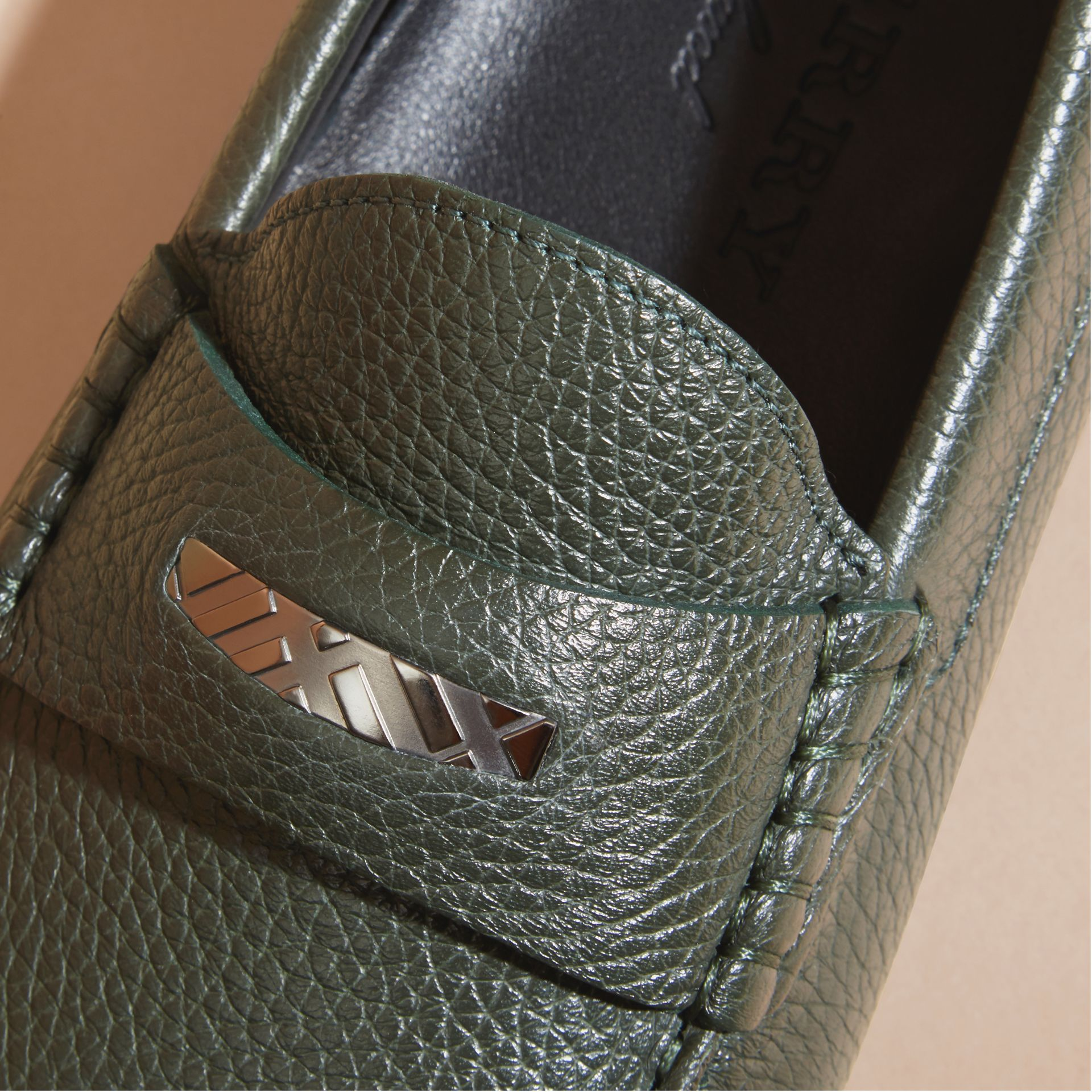 Dark bottle green Grainy Leather Loafers with Engraved Check Detail Dark Bottle Green - gallery image 2
