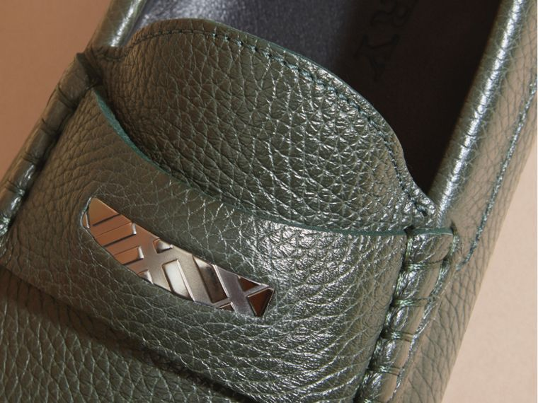 Dark bottle green Grainy Leather Loafers with Engraved Check Detail Dark Bottle Green - cell image 1