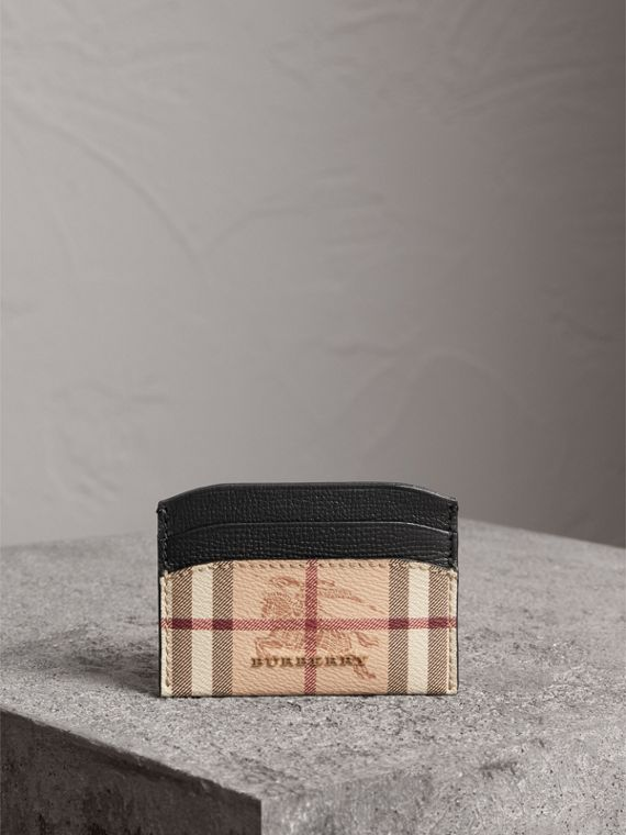 Haymarket Check and Leather Card Case in Black - Women | Burberry - cell image 3