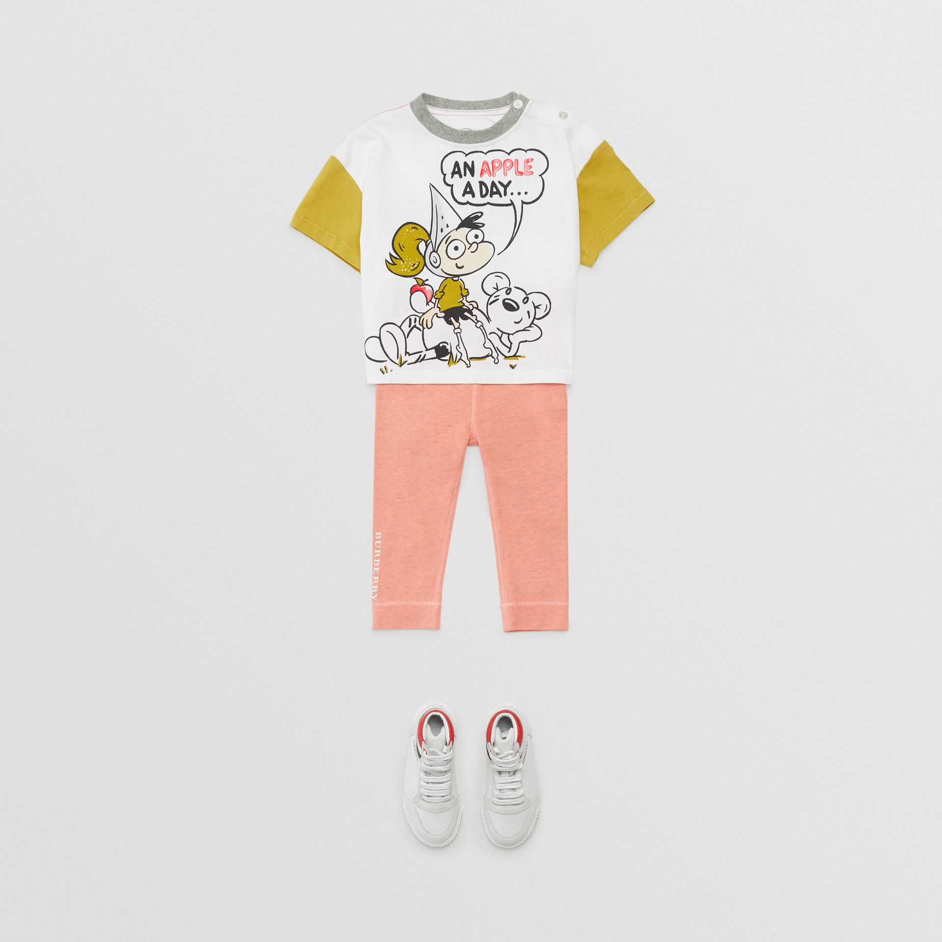Cartoon Print Cotton T-shirt in Natural White - Children | Burberry - gallery image 2