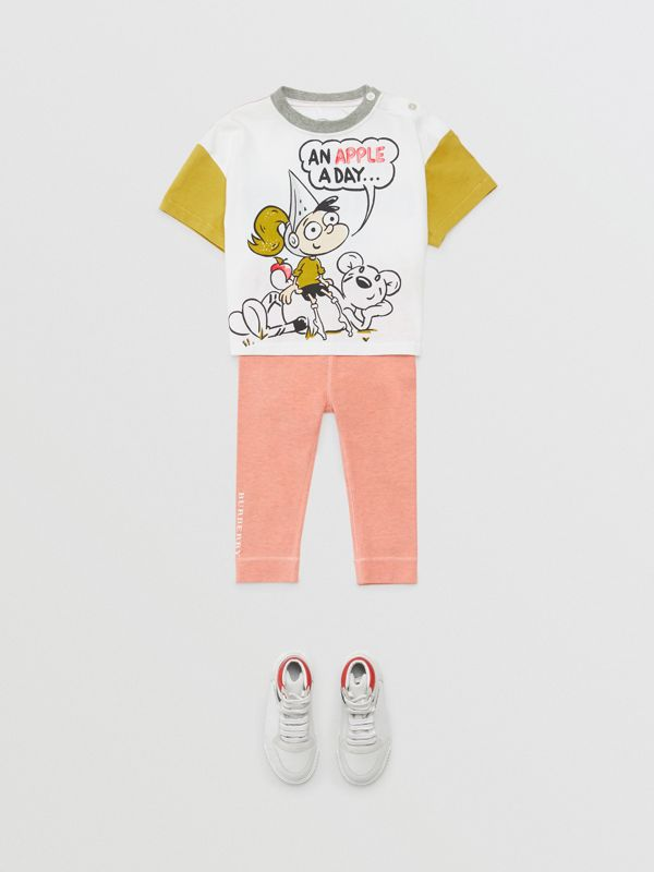 Cartoon Print Cotton T-shirt in Natural White - Children | Burberry - cell image 2