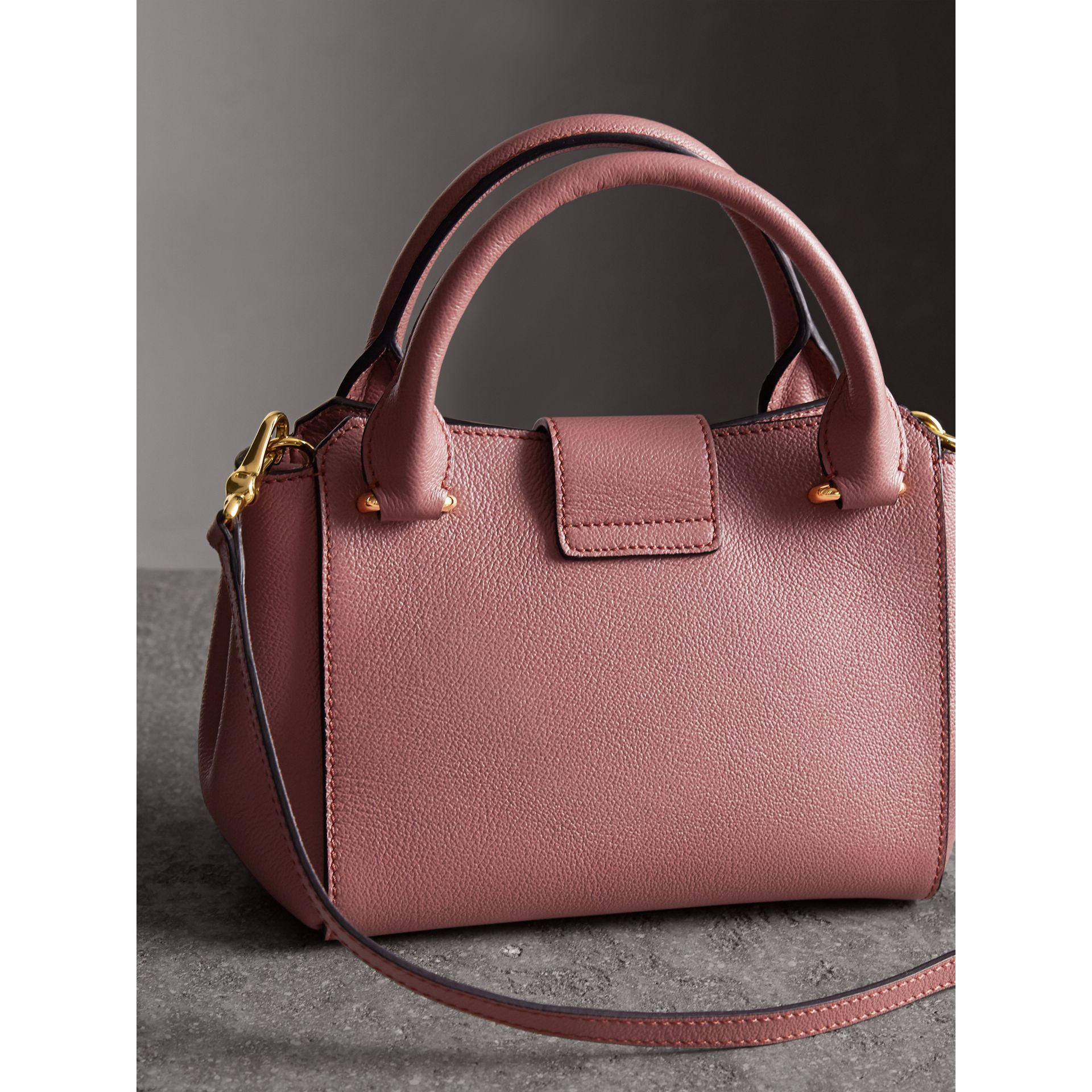 The Small Buckle Tote in Grainy Leather in Dusty Pink - gallery image 5