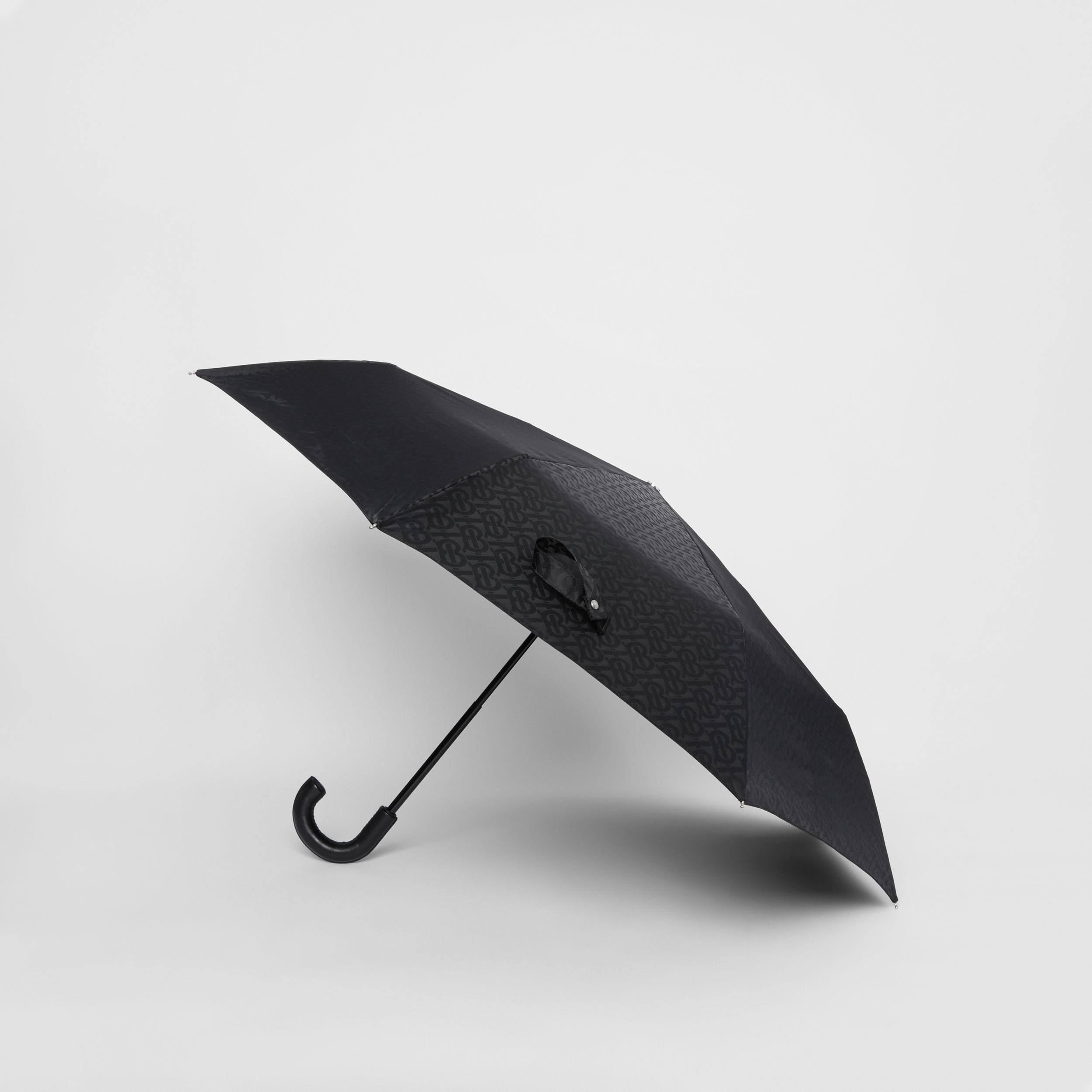 Monogram Print Folding Umbrella in Black | Burberry - 4