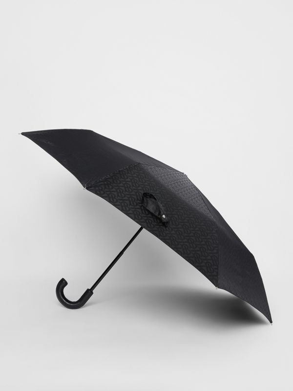 Monogram Print Folding Umbrella in Black | Burberry - cell image 3