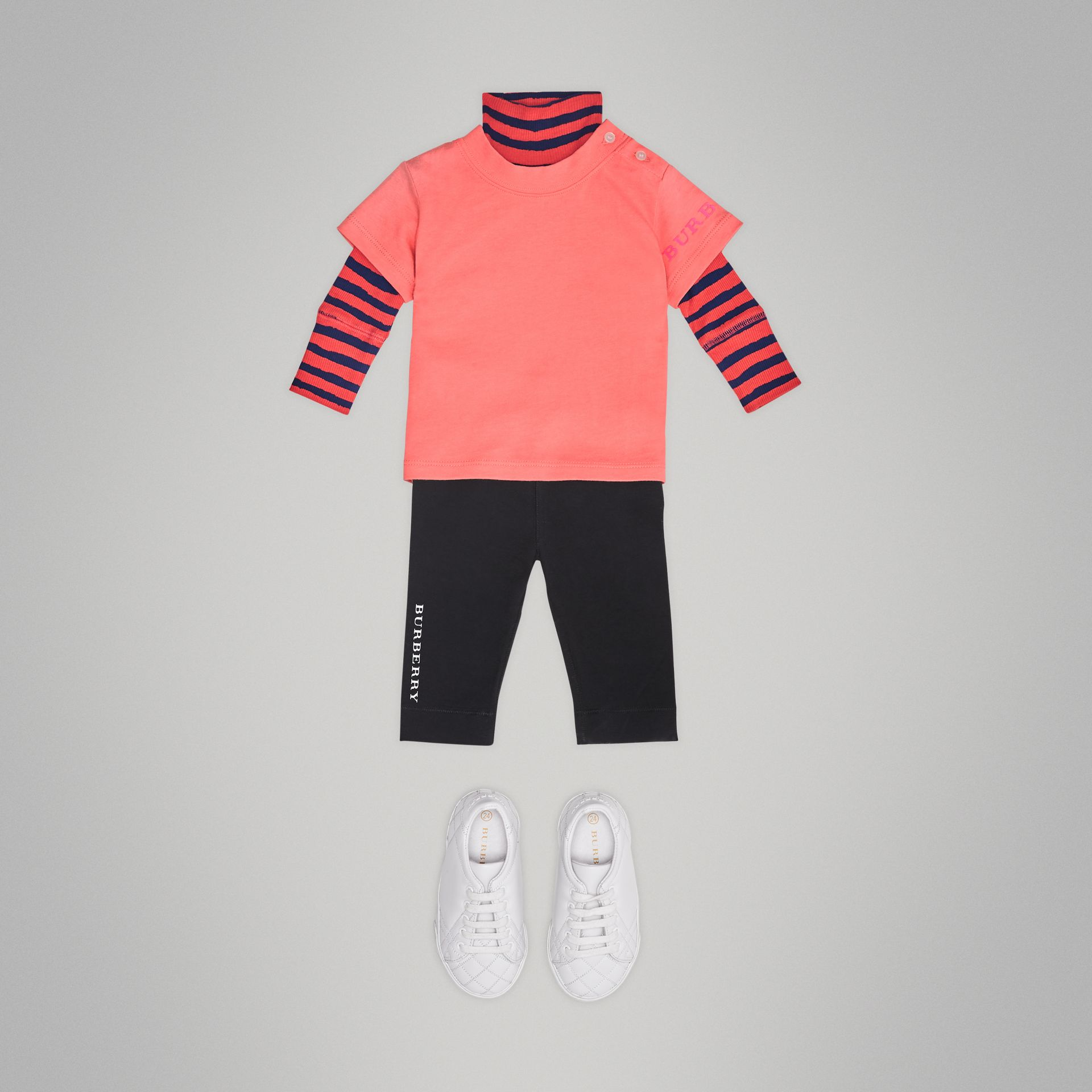 Logo Print Cotton T-shirt in Bright Pink - Children | Burberry - gallery image 2