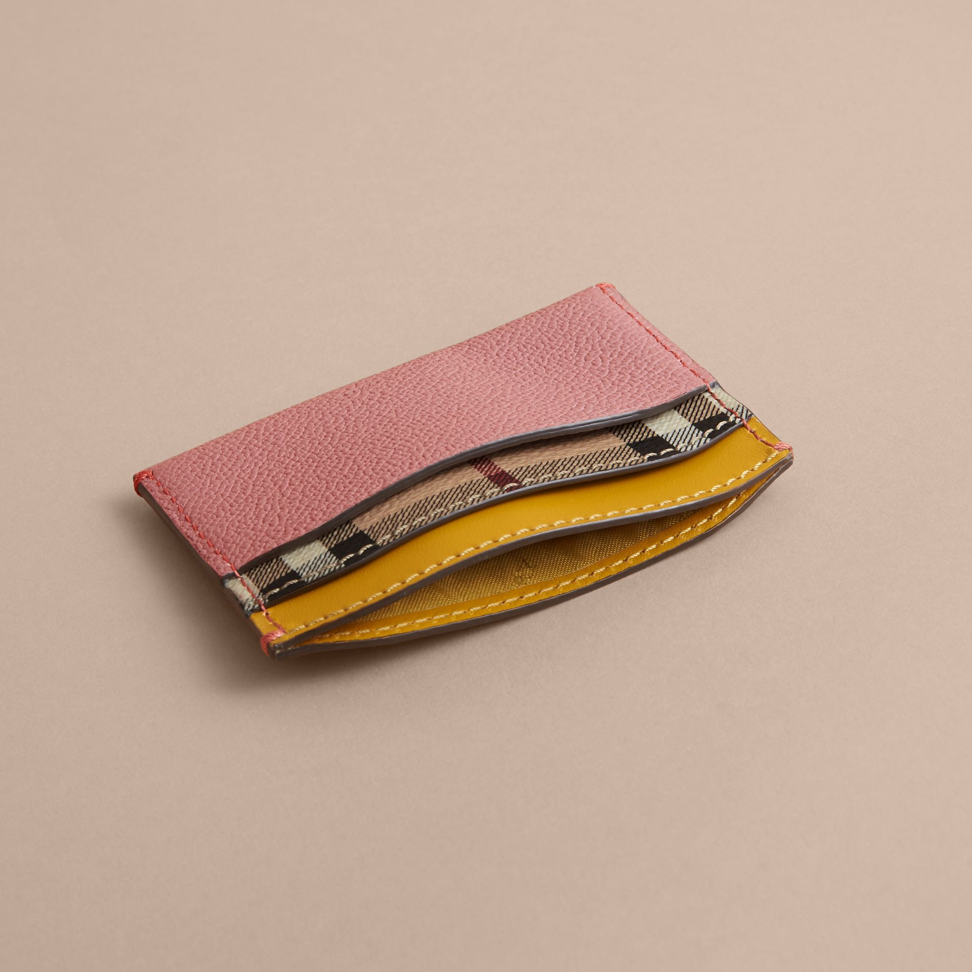 Colour Block Leather and Haymarket Check Card Case in Dusty Pink / Multi - Women | Burberry - gallery image 4