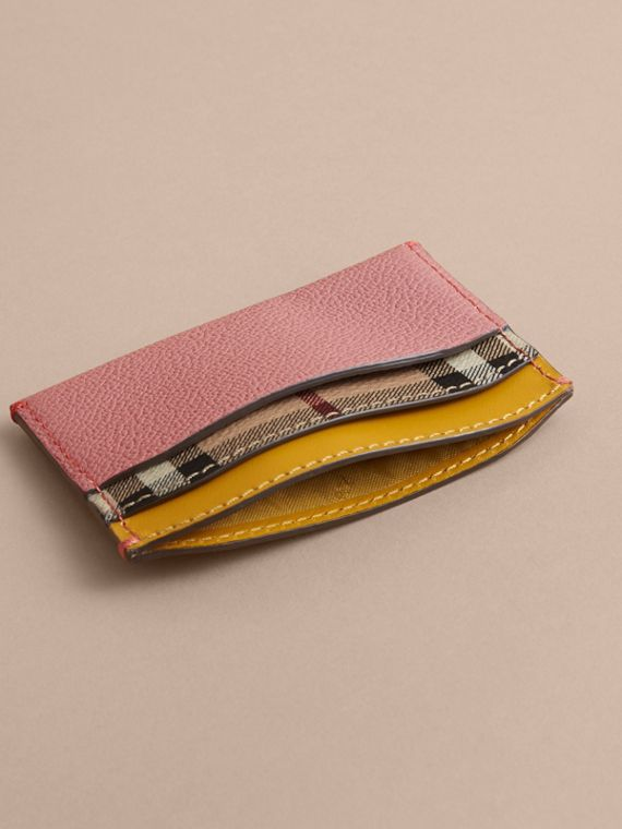 Colour Block Leather and Haymarket Check Card Case in Dusty Pink / Multi - Women | Burberry - cell image 3