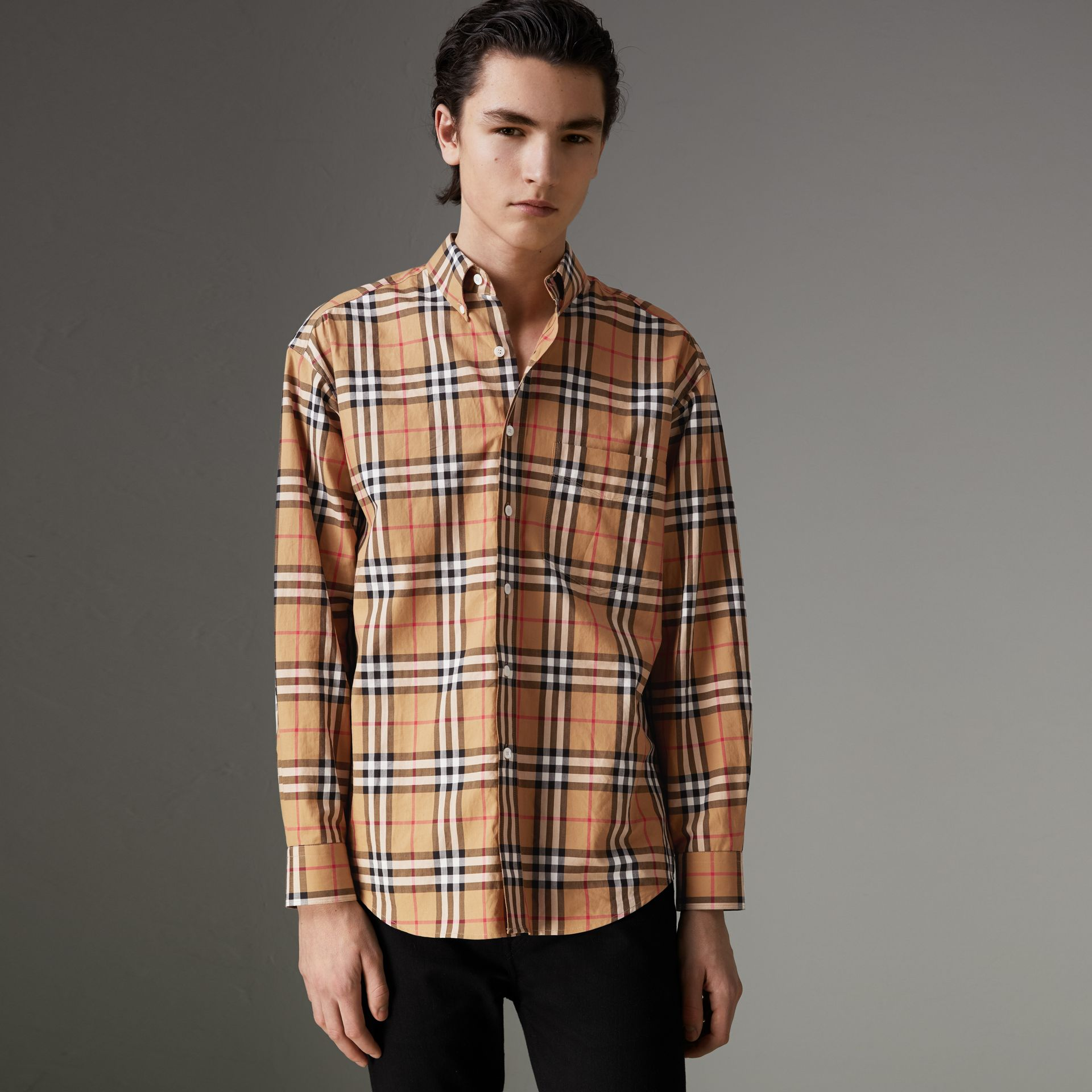 Button-down Collar Vintage Check Cotton Shirt in Antique Yellow - Men | Burberry - gallery image 0