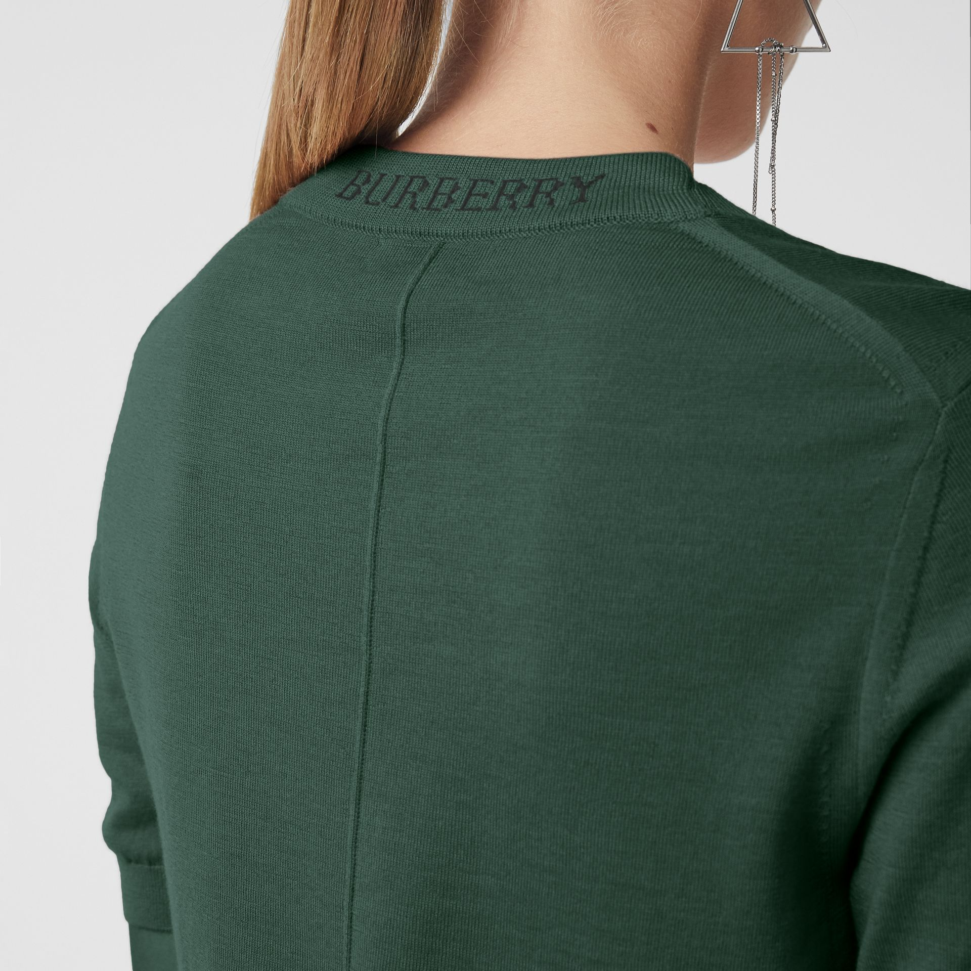 Crew Neck Merino Wool Sweater in Dark Forest Green - Women | Burberry - gallery image 1