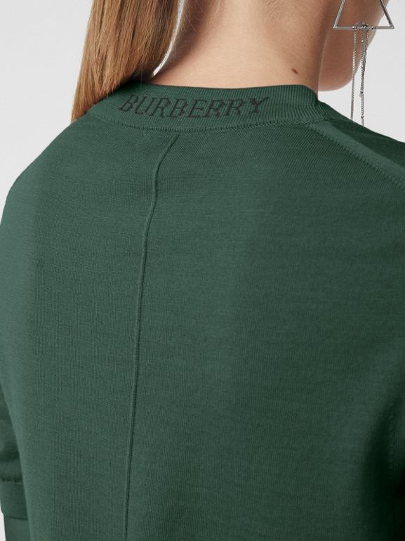 Crew Neck Merino Wool Sweater in Dark Forest Green - Women | Burberry - cell image 1