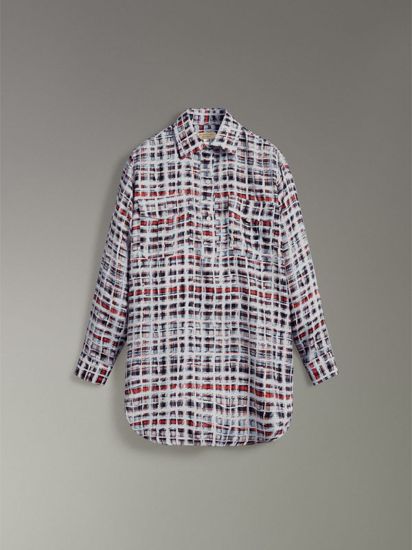 Scribble Check Silk Shirt in Cadmium Red - Women | Burberry - cell image 3