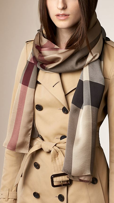 Smoked trench check Check Silk Satin Scarf - Image 2
