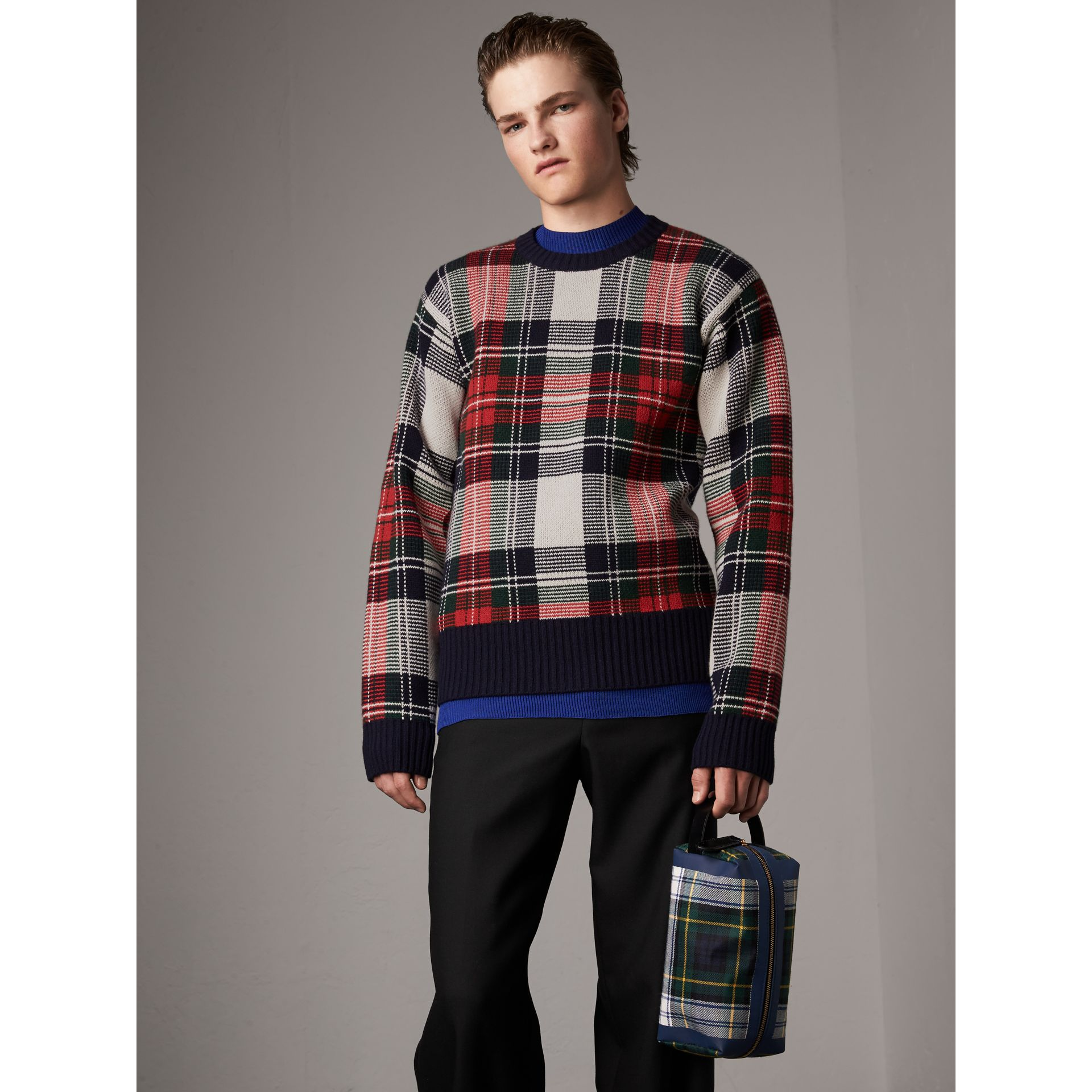 Tartan Cashmere Wool Sweater in Natural White - Men | Burberry - gallery image 6