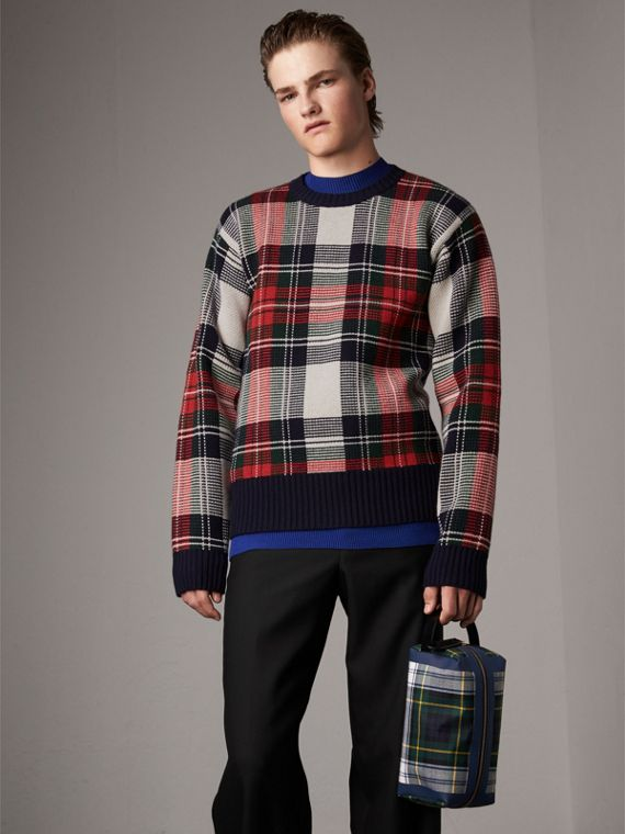 Tartan Cashmere Wool Sweater in Natural White
