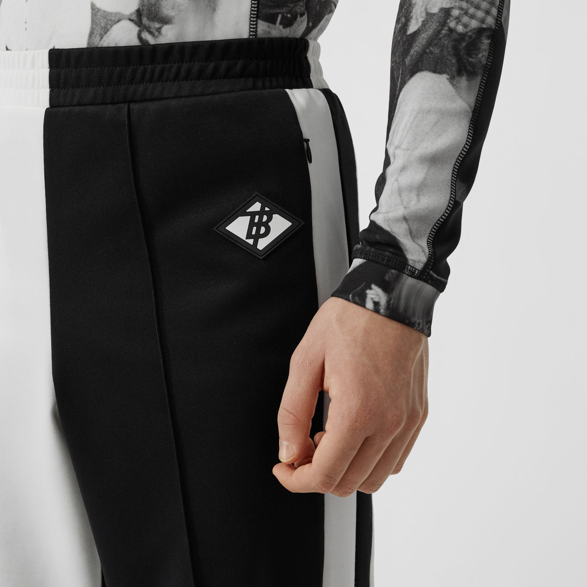 Logo Graphic Two-tone Jersey Trackpants in Black - Men | Burberry - gallery image 5
