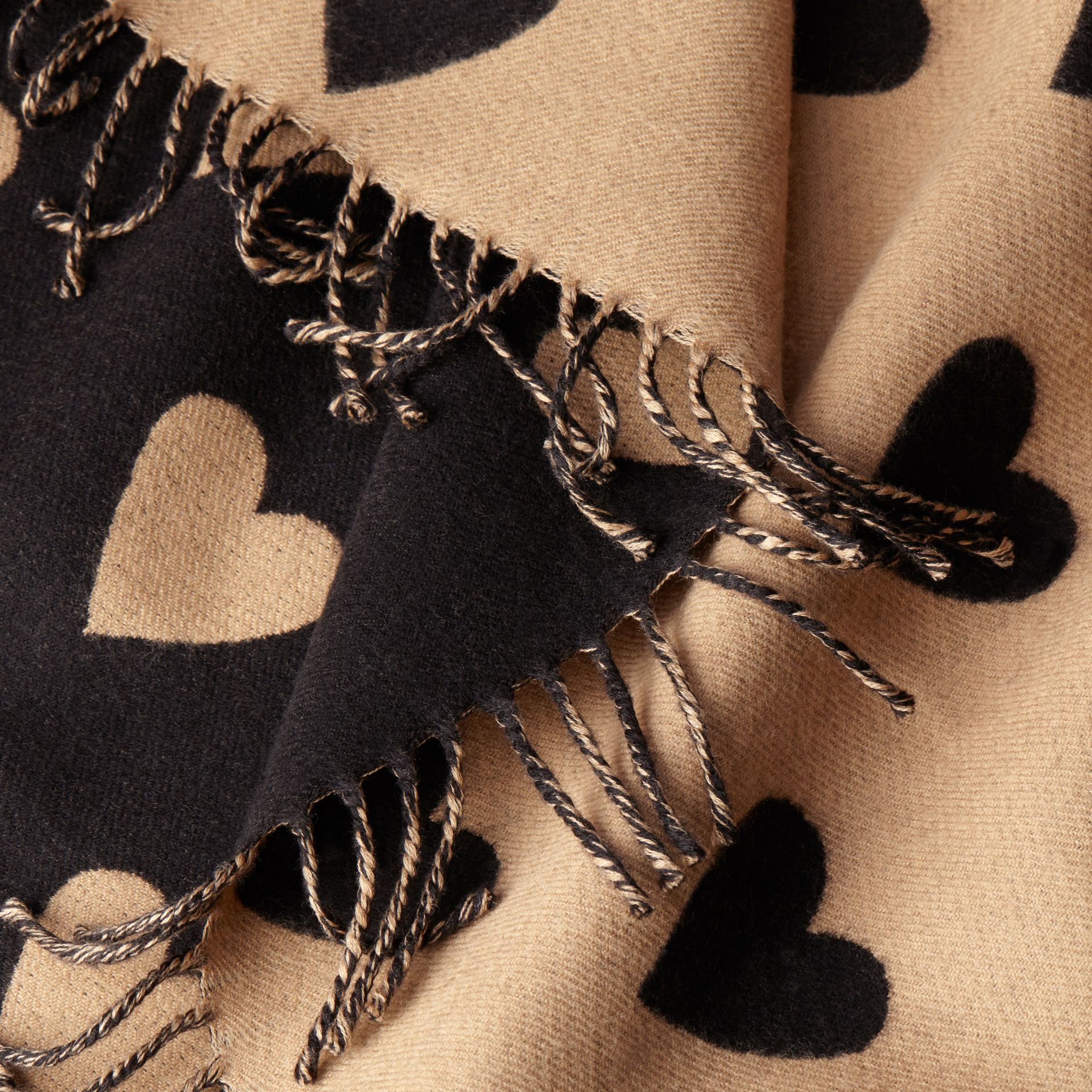 Heart Jacquard Merino Wool Poncho in Camel/black - gallery image 2