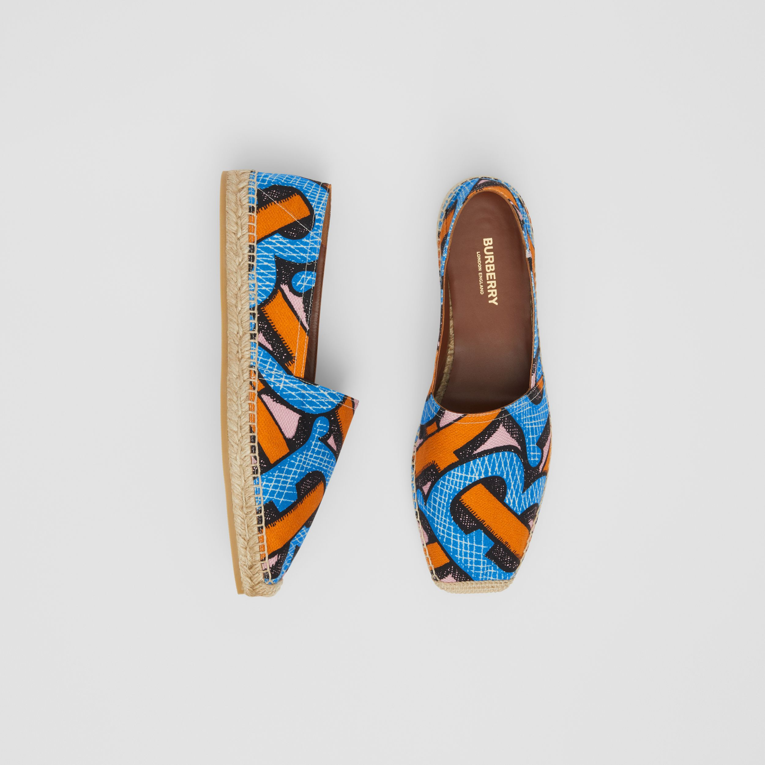 Monogram Print Cotton Canvas Espadrilles in Bright Cobalt - Women | Burberry - 1