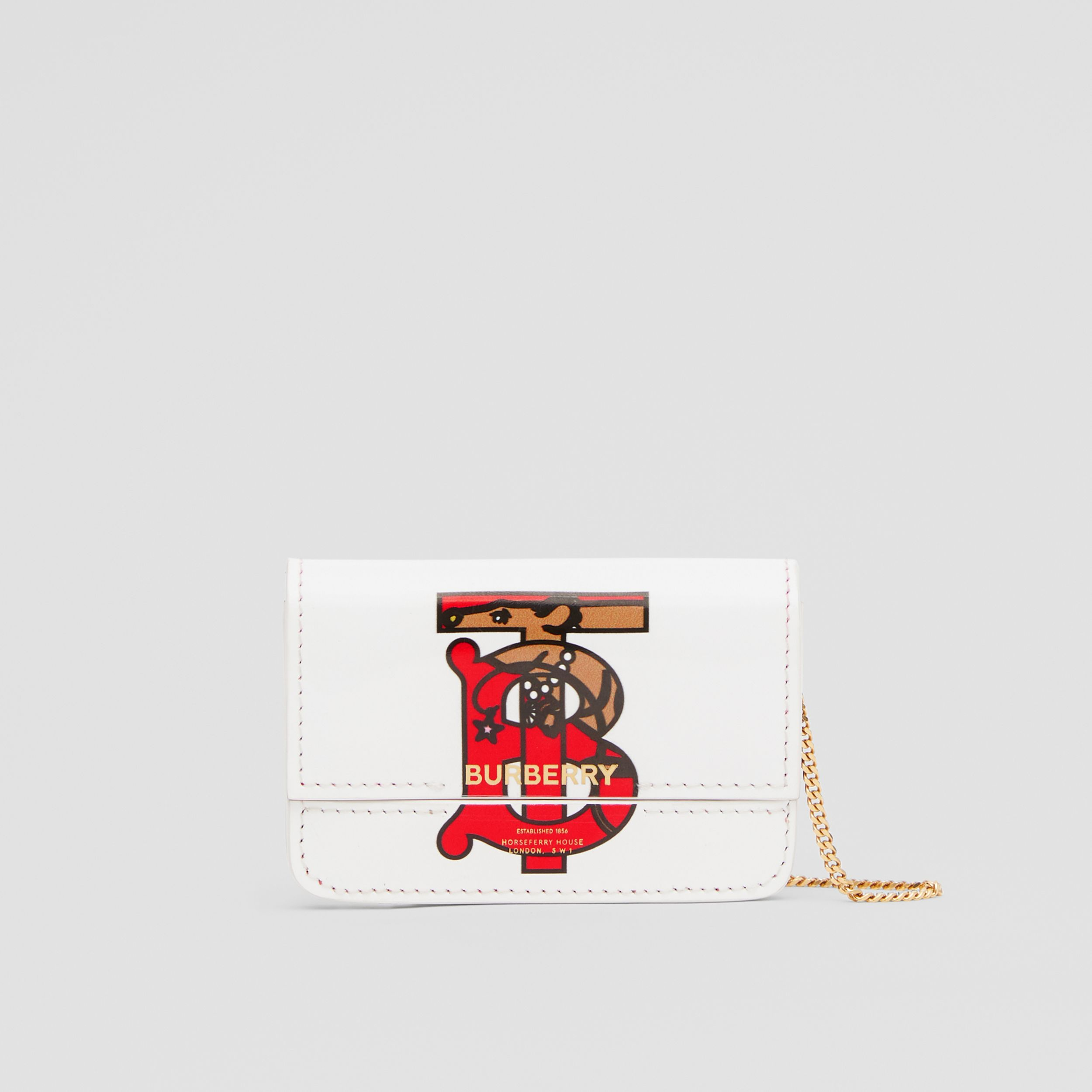 Monogram Motif Leather Card Case with Chain Strap in White | Burberry - 1