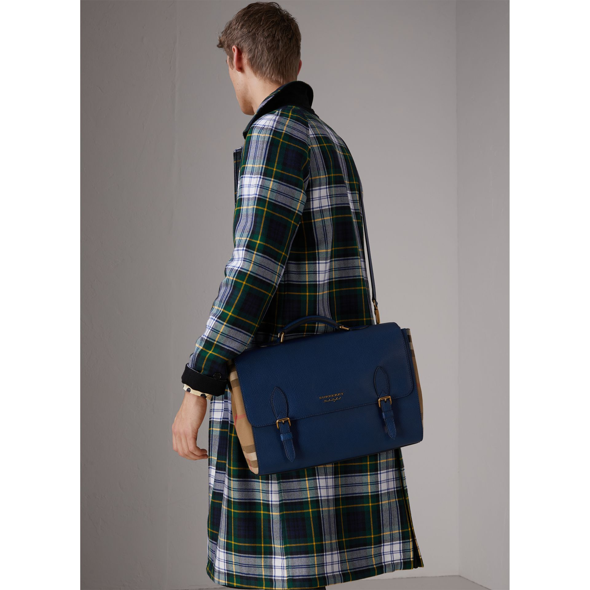 Leather and House Check Satchel in Deep Blue - Men | Burberry Australia - gallery image 4
