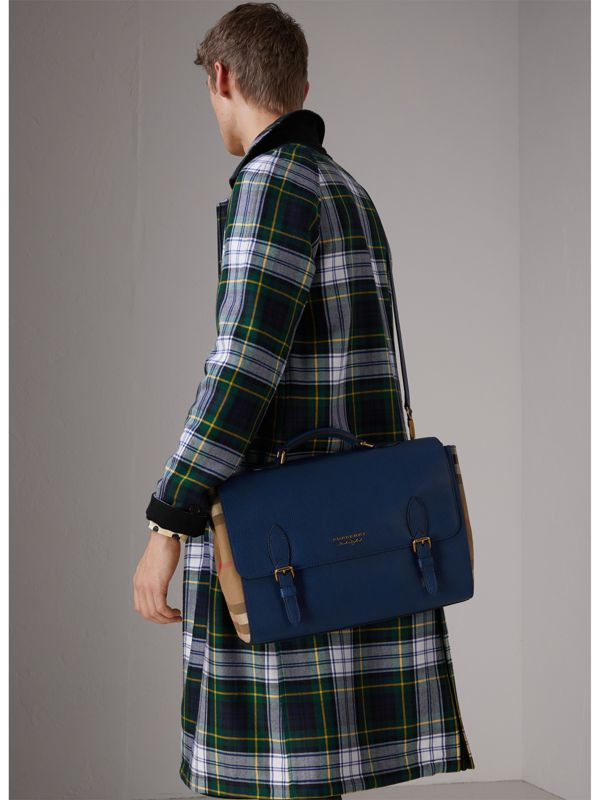 Leather and House Check Satchel in Deep Blue - Men | Burberry - cell image 3