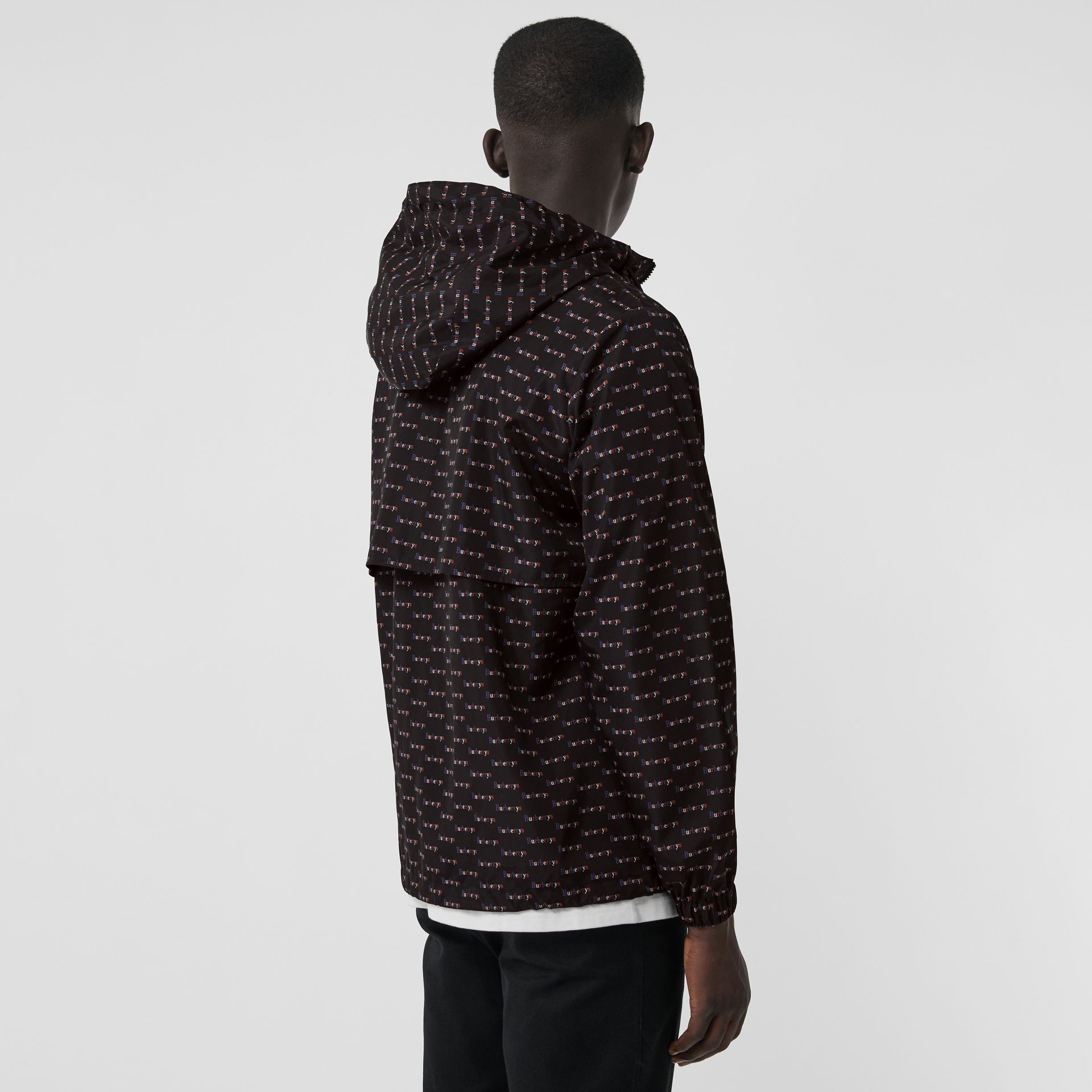 Archive Logo Print Lightweight Hooded Jacket in Black - Men | Burberry United Kingdom - gallery image 2