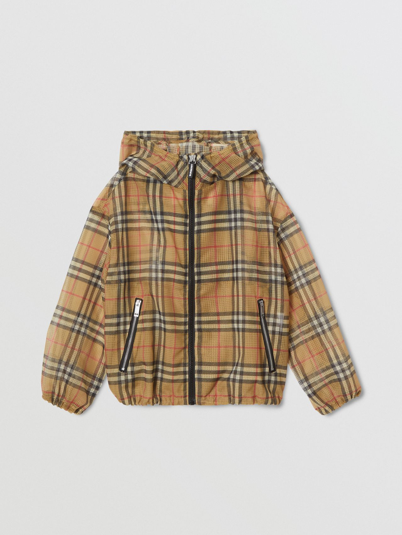 Lightweight Vintage Check Hooded Jacket (Antique Yellow)