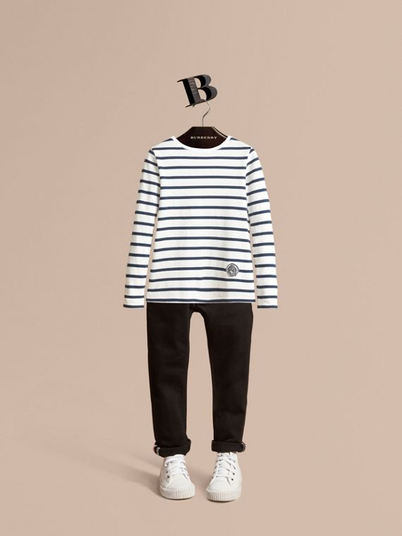Pallas Heads Motif Breton Stripe Cotton Top in Indigo