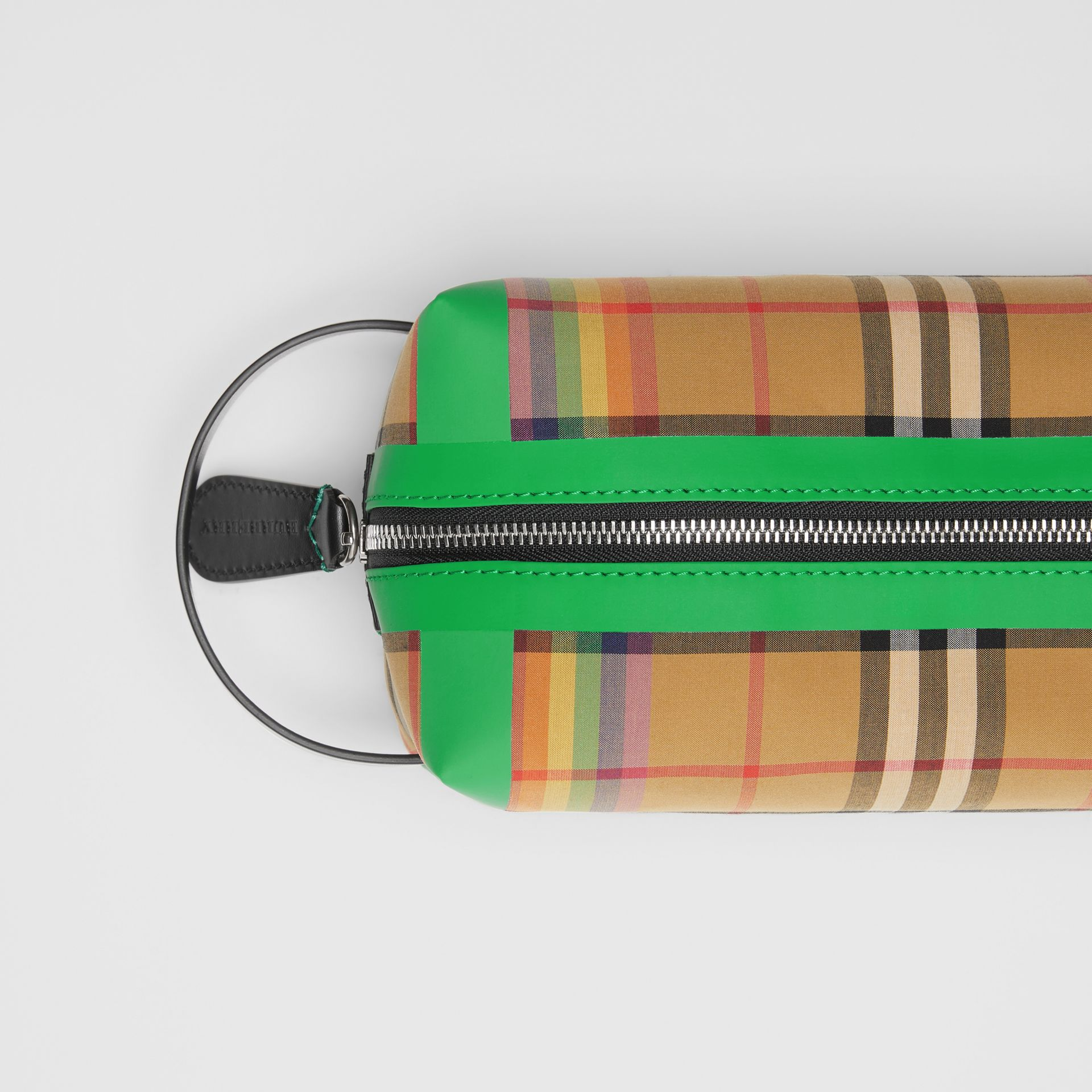 Rainbow Vintage Check Cotton Pouch in Antique Yellow | Burberry - gallery image 1