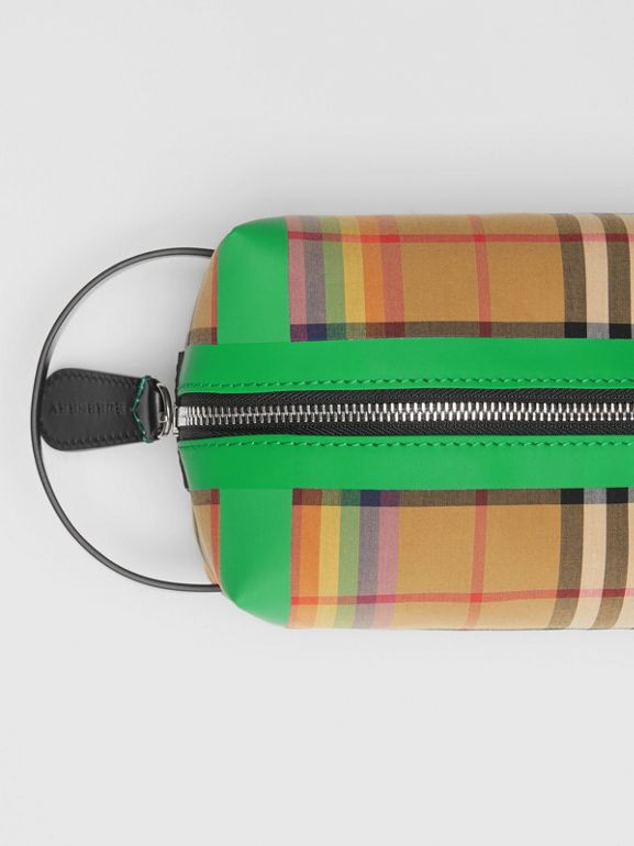 Rainbow Vintage Check Cotton Pouch in Antique Yellow - Women | Burberry United Kingdom - cell image 1
