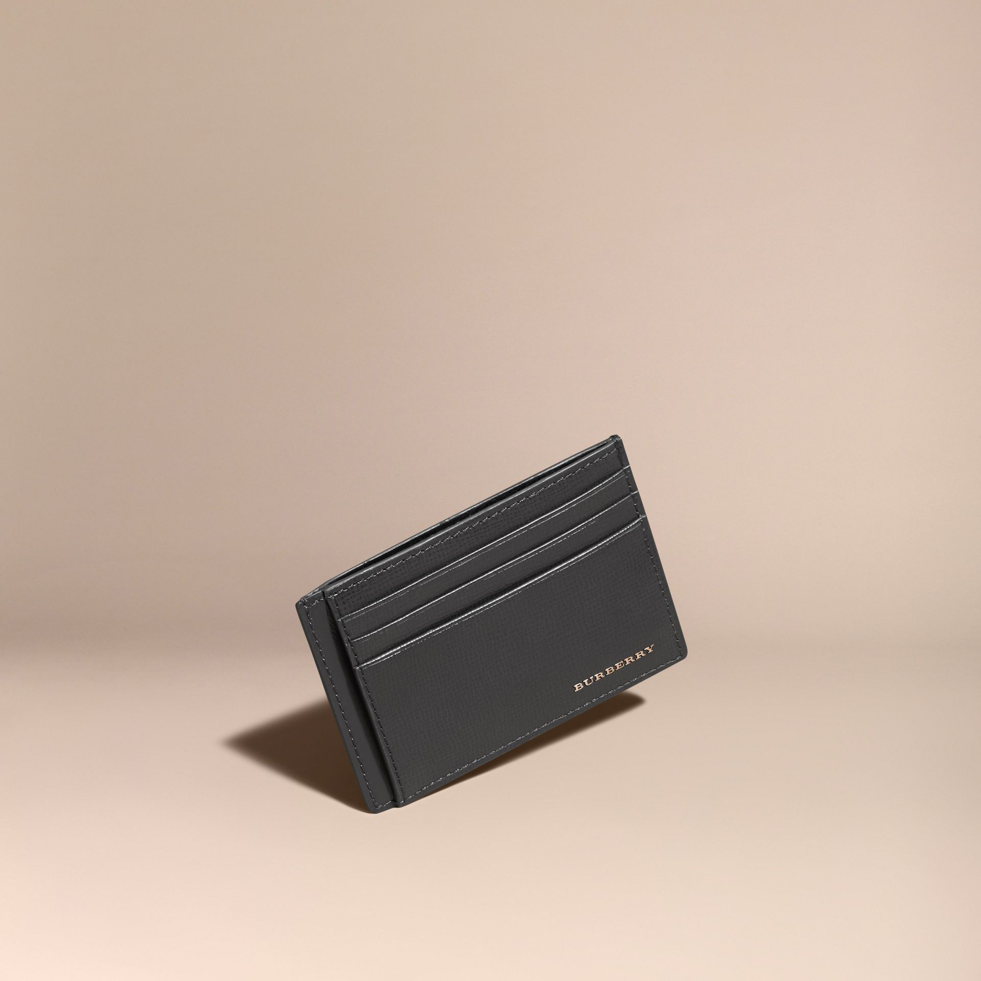 Charcoal London Leather Card Case - gallery image 1