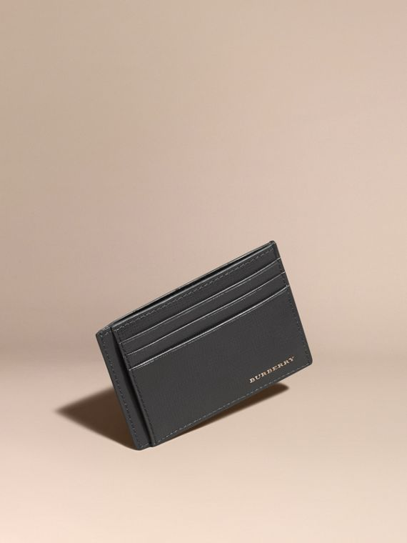 London Leather Card Case Charcoal