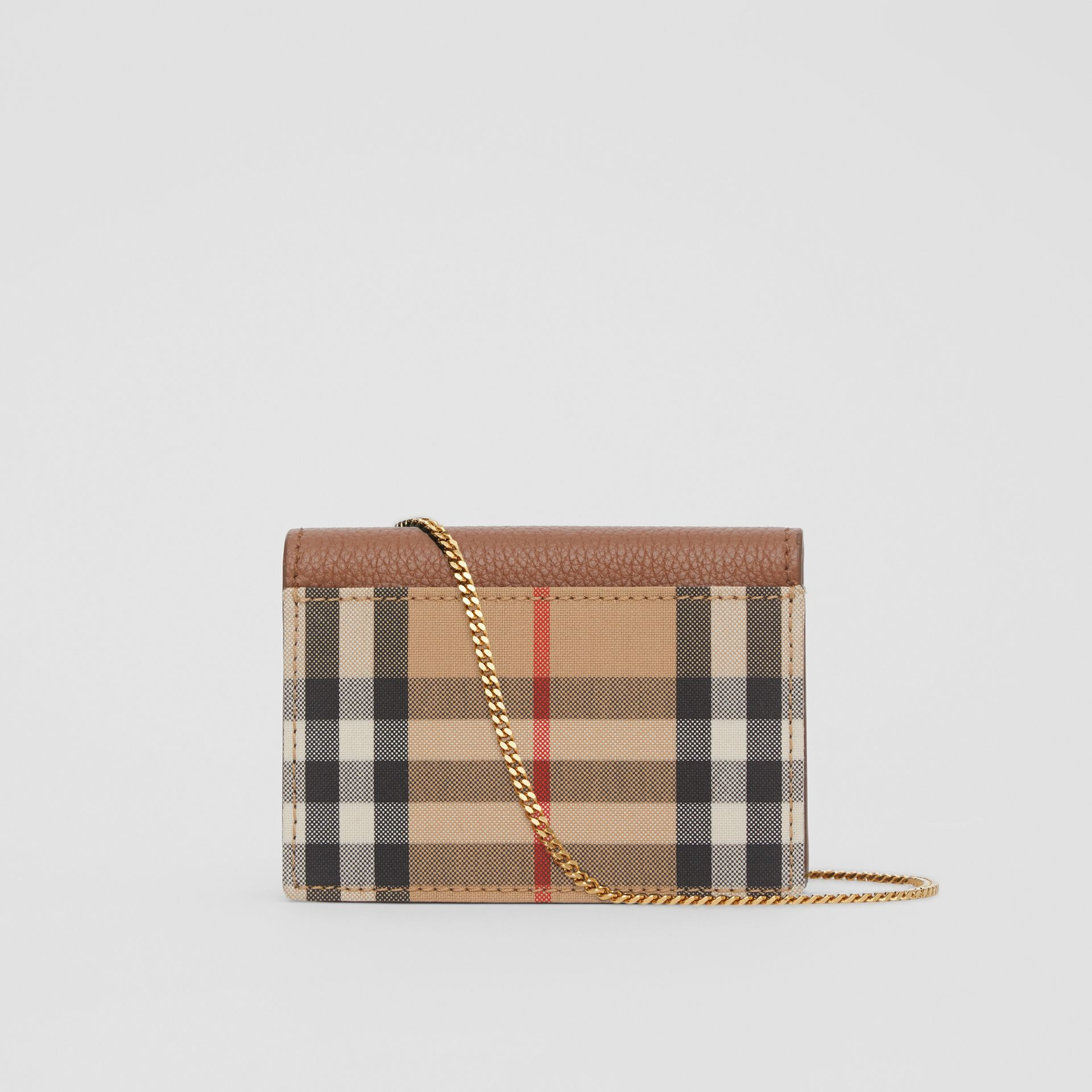 Vintage Check and Leather Card Case with Strap in Tan - Women | Burberry - gallery image 3
