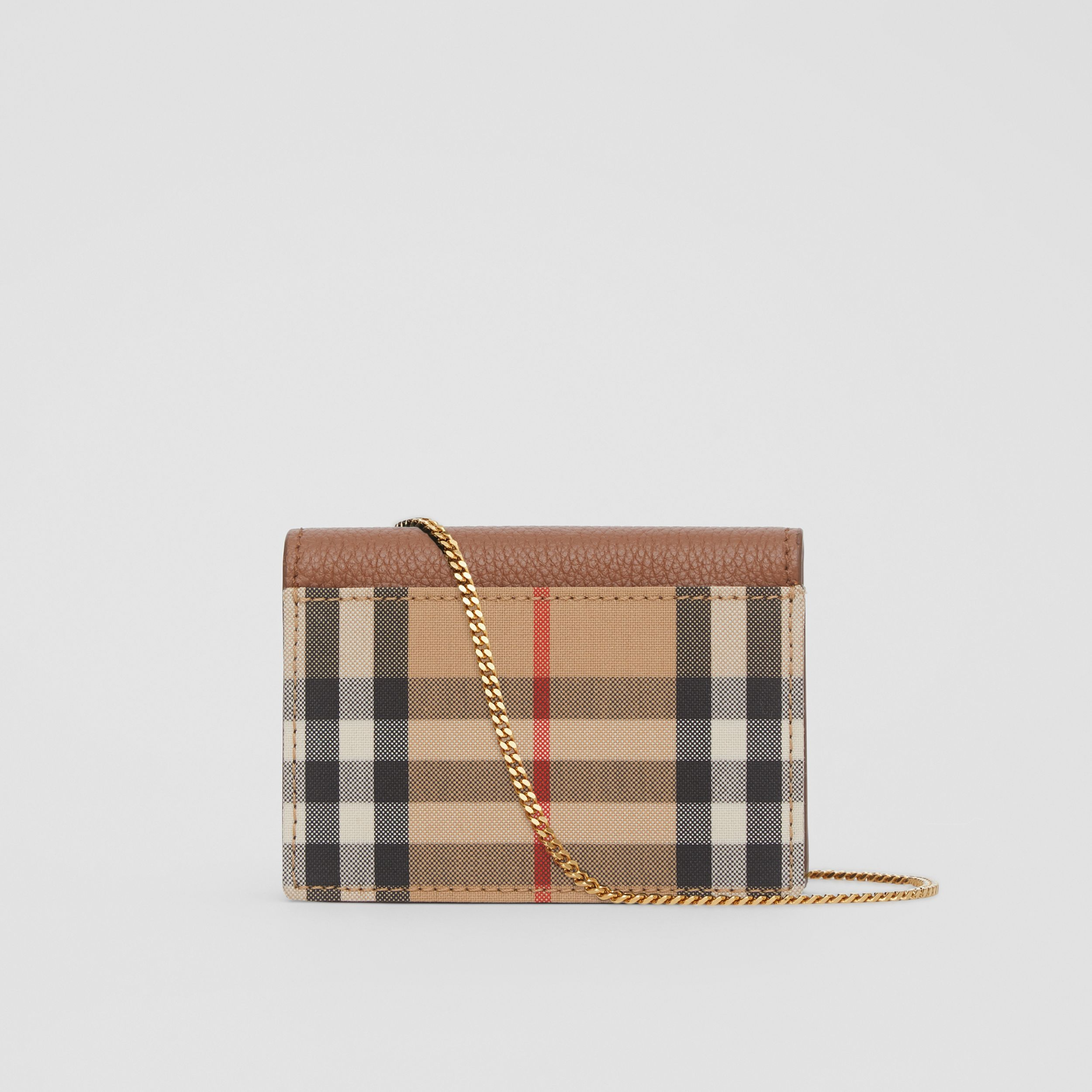 Vintage Check and Leather Card Case with Strap in Tan - Women | Burberry - 4