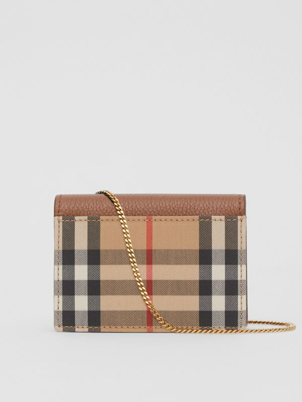 Vintage Check and Leather Card Case with Strap in Tan - Women | Burberry - cell image 3