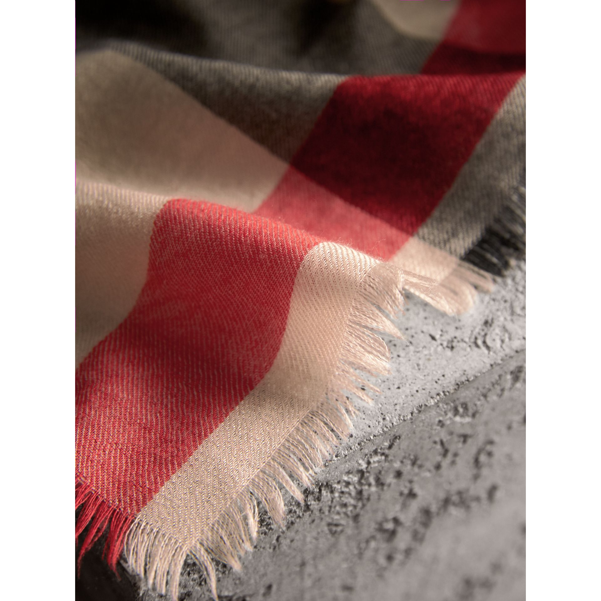 The Lightweight Check Cashmere Scarf in Stone | Burberry Australia - gallery image 4
