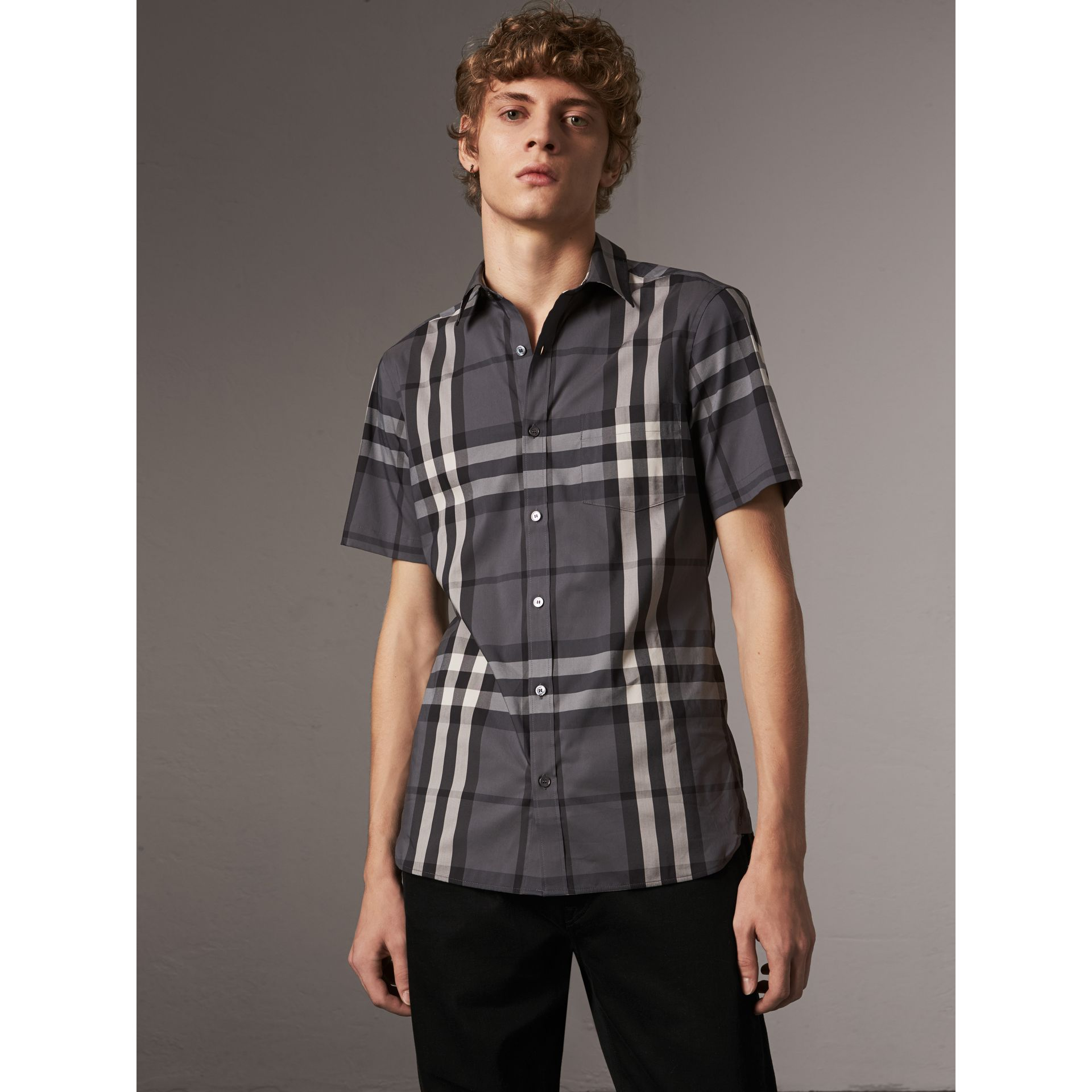 Short-sleeved Check Stretch Cotton Shirt in Charcoal - Men | Burberry Australia - gallery image 0