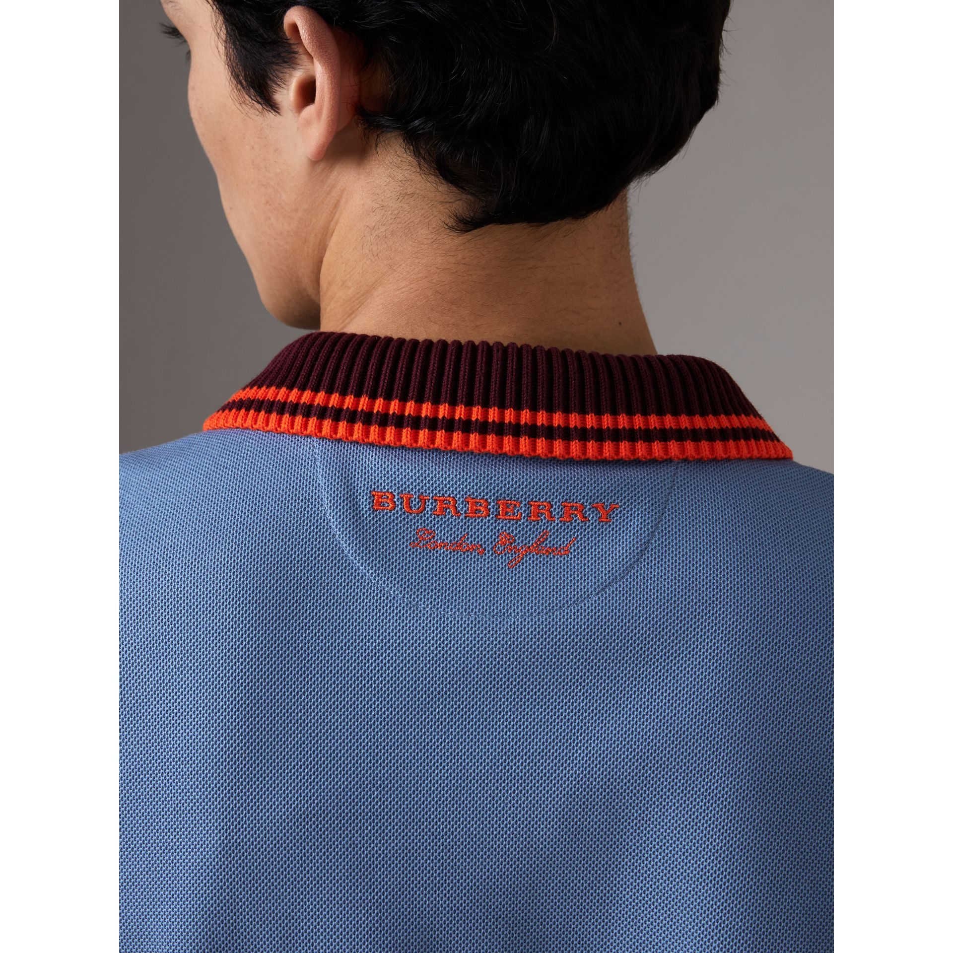 Two-tone Stripe Knitted Detail Cotton Polo Shirt in Light Blue - Men | Burberry United States - gallery image 4