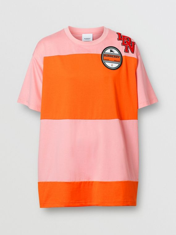 Logo Graphic Panelled Cotton Oversized T-shirt in Candy Pink