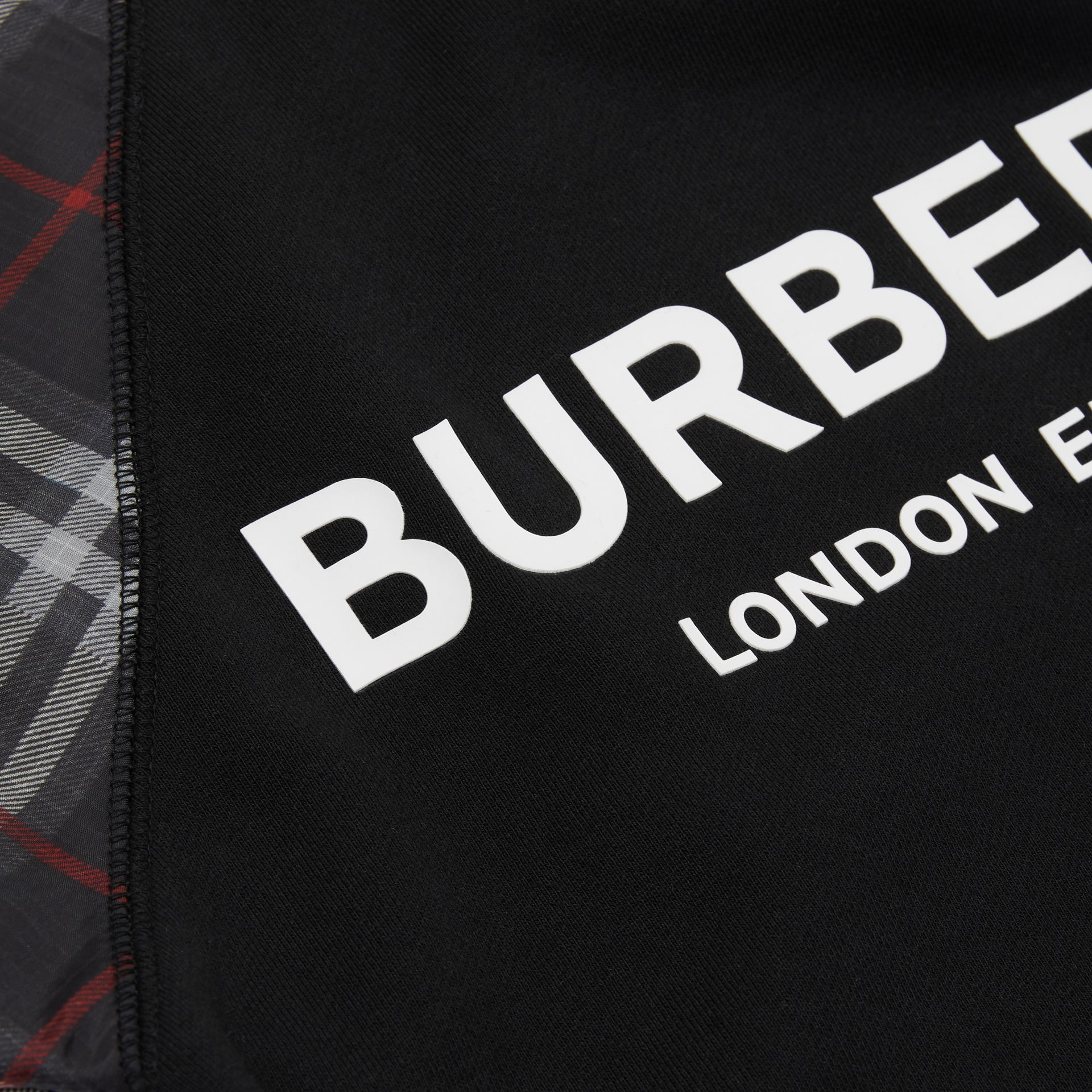 Vintage Check Detail Logo Print Cotton Sweatshirt in Black | Burberry - gallery image 1