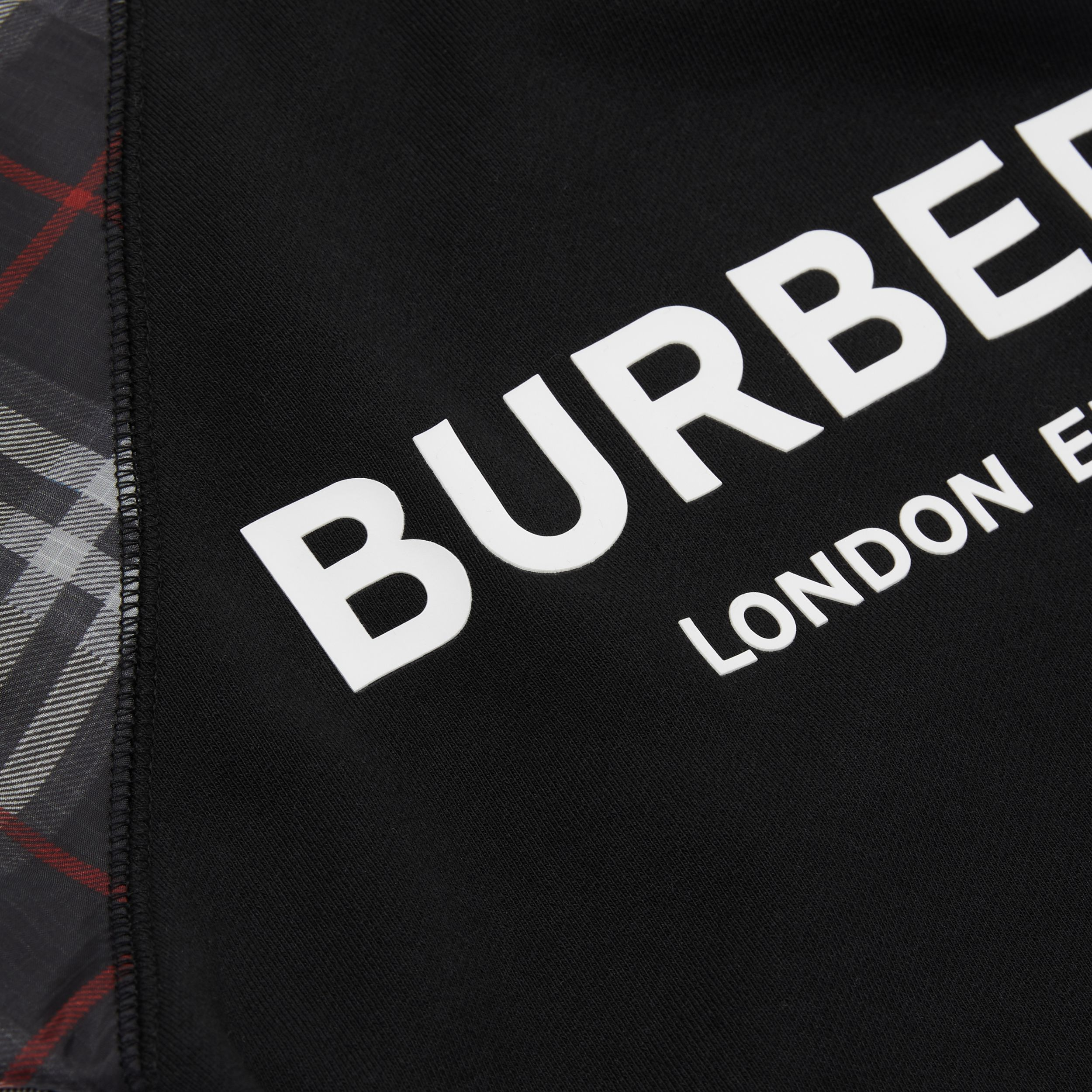 Vintage Check Detail Logo Print Cotton Sweatshirt in Black | Burberry - 2
