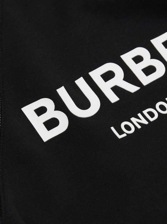 Vintage Check Detail Logo Print Cotton Sweatshirt in Black | Burberry United Kingdom - cell image 1