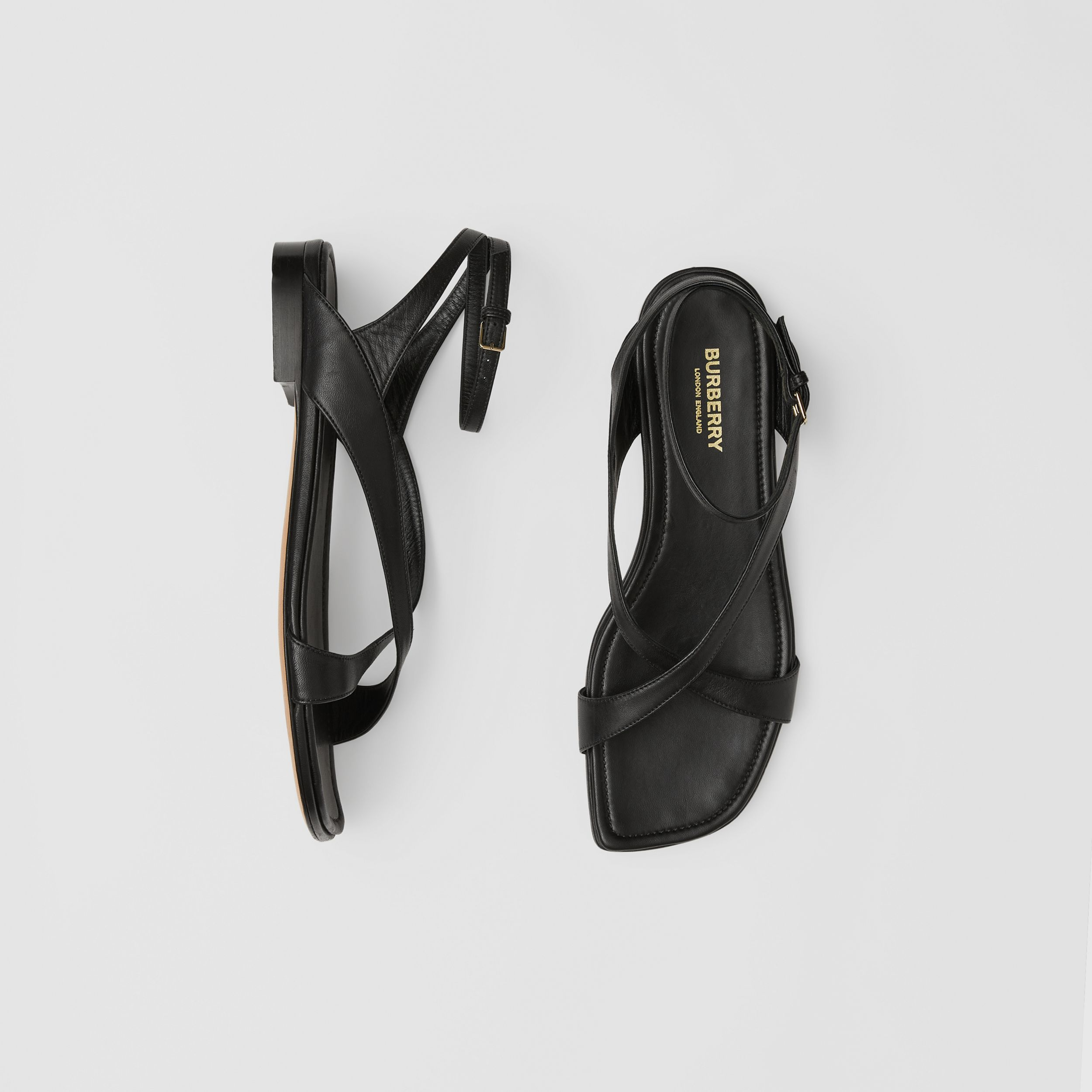 Lambskin Wraparound Sandals in Black - Women | Burberry - 1